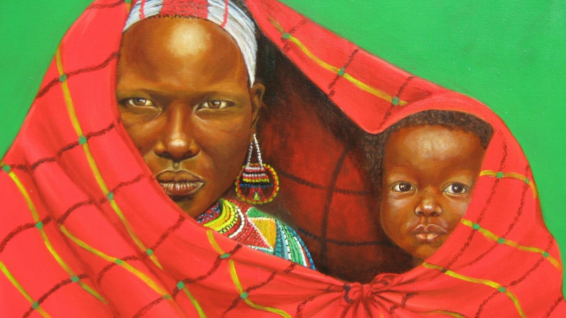 Child, African Art, Baby, Child African Art Painting