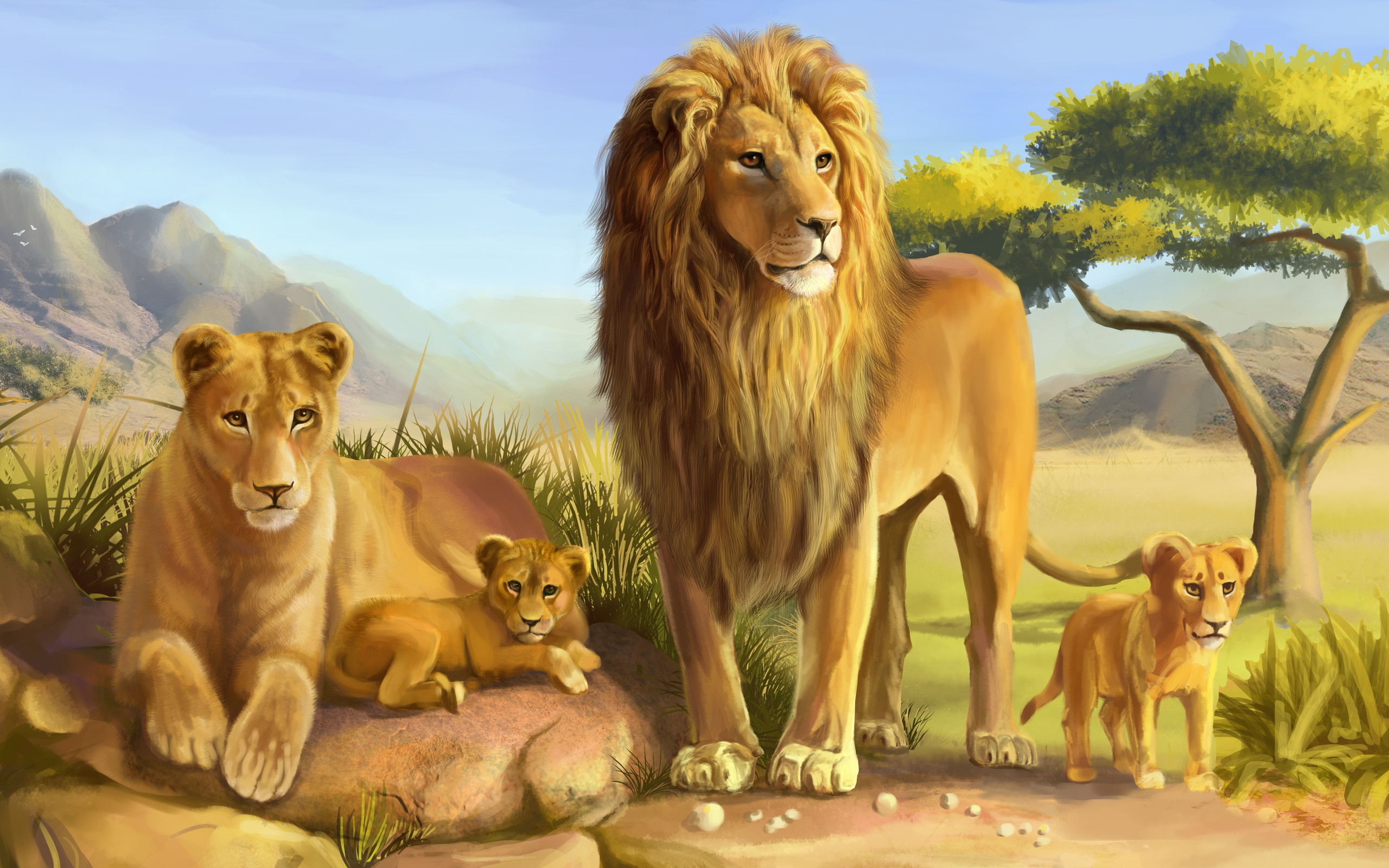Modern Art HD prints oil painting on canvas African Lion Family