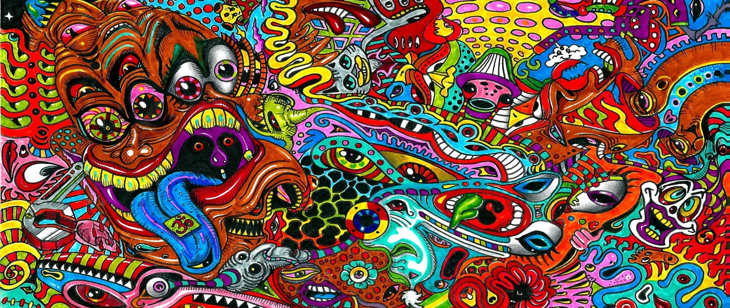 Preview wallpaper drawing, surreal, colorful, psychedelic 2560×1080