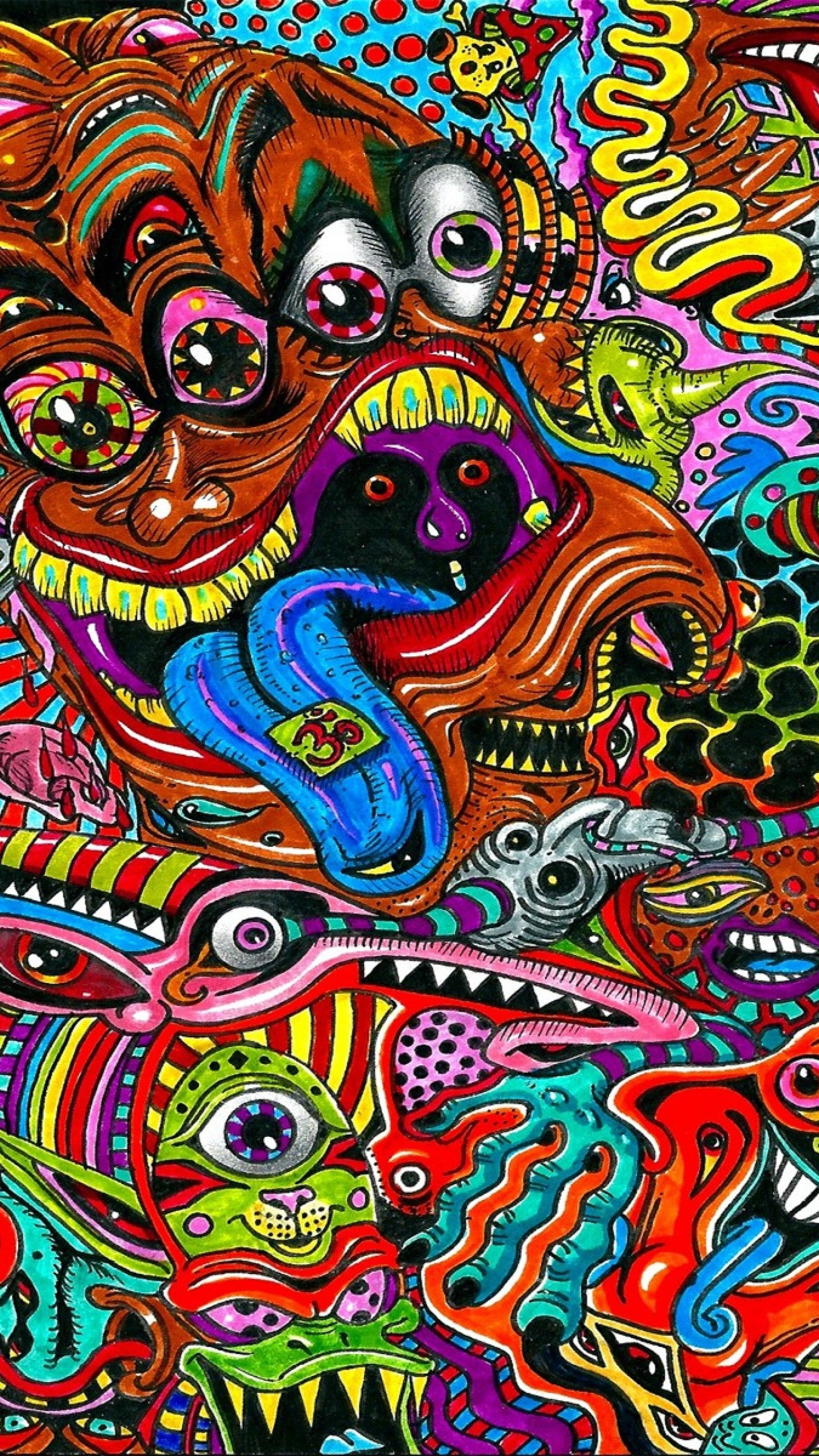 Preview wallpaper drawing, surreal, colorful, psychedelic 1440×2560