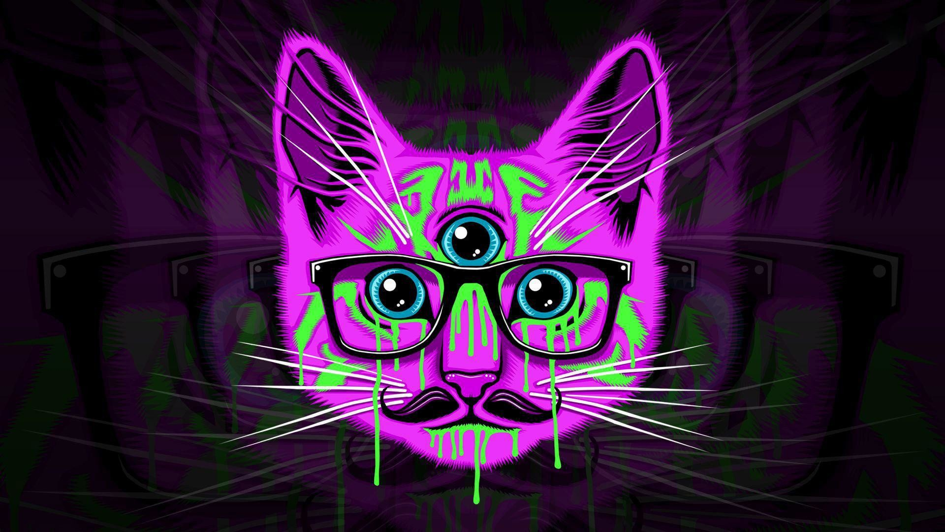 Psychedelic-cat-hipster-glasses-mustache-wallapers
