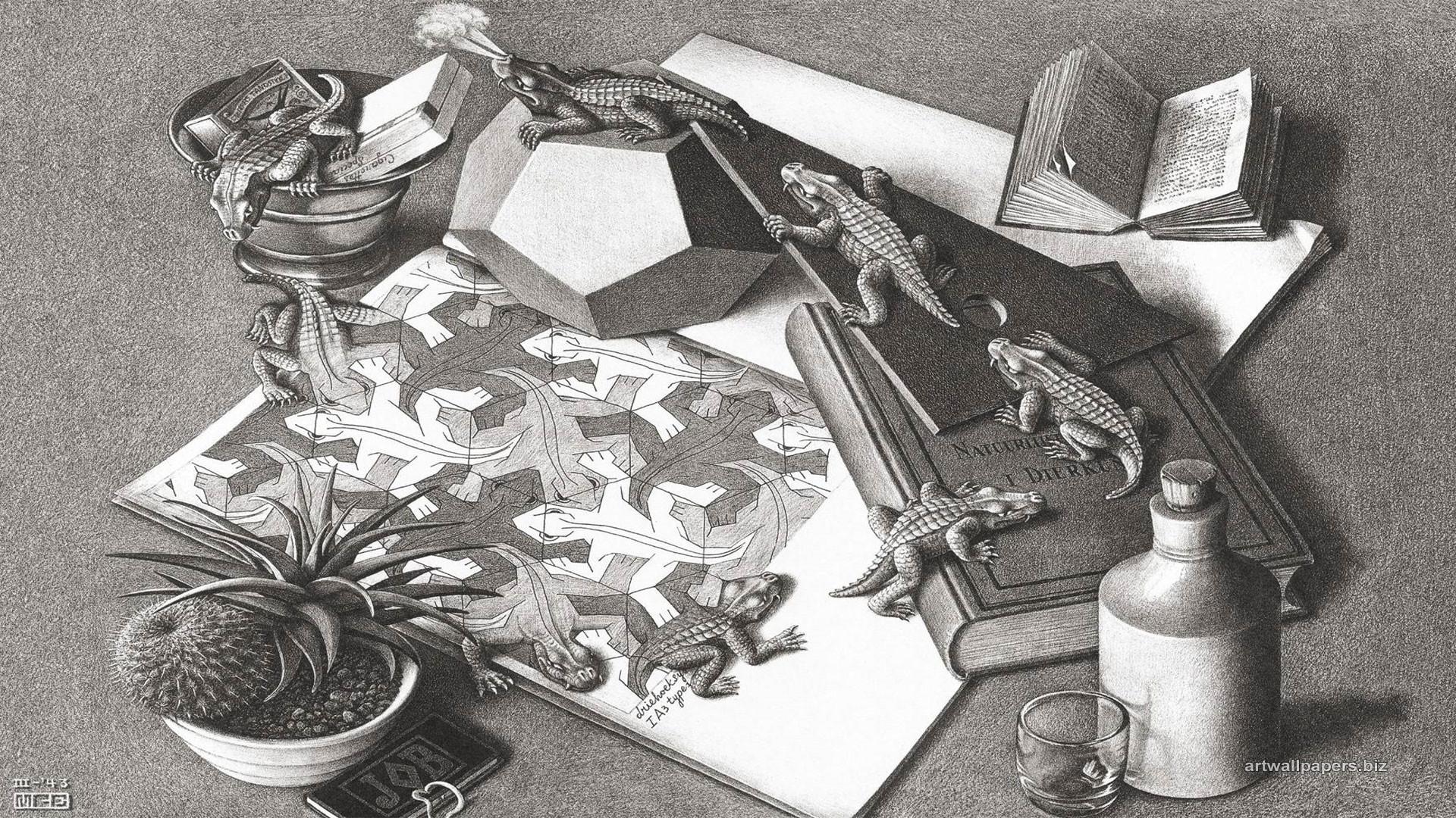 MC Escher Alligator Wallpaper
