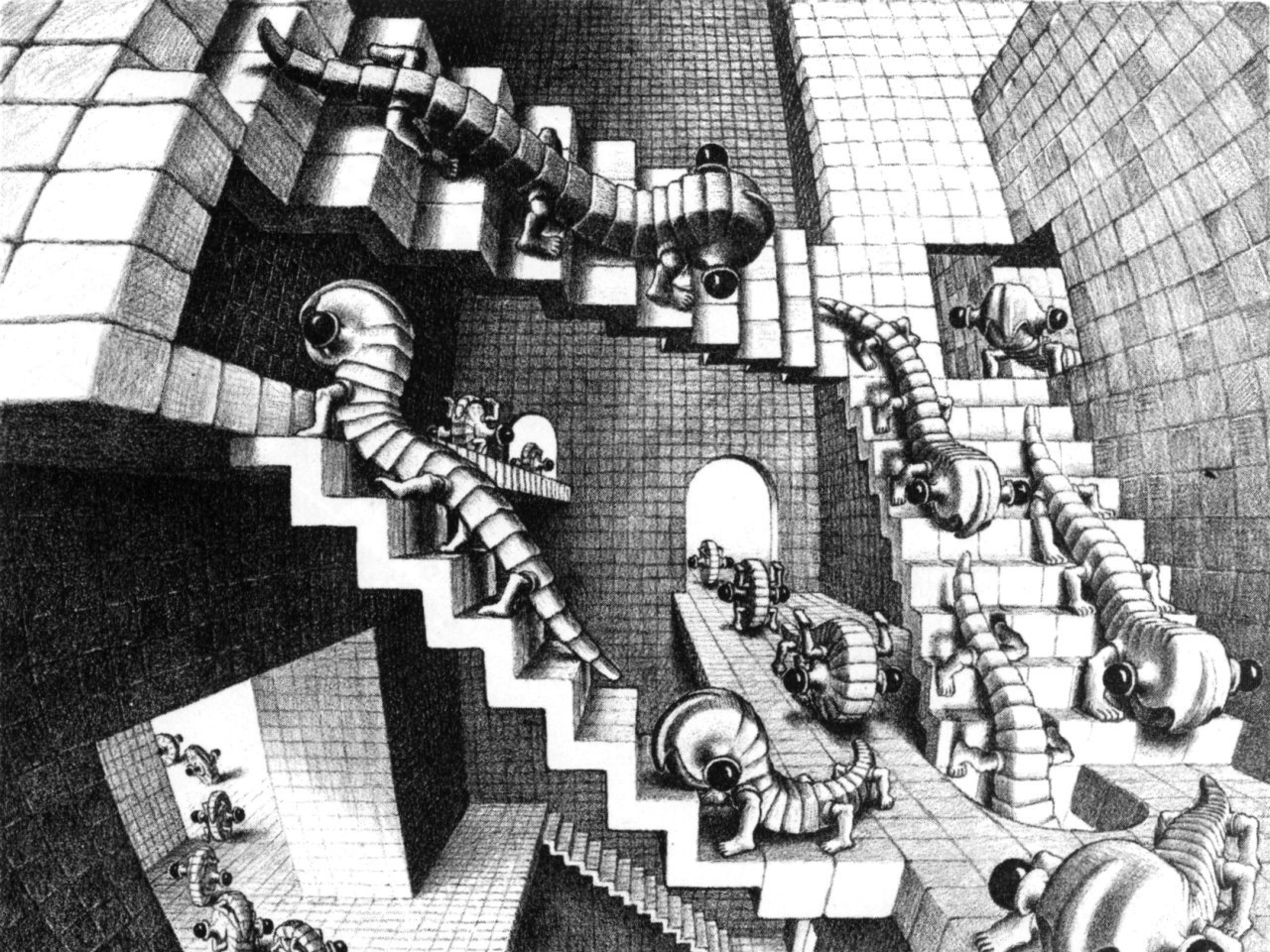 stairways grayscale mc escher monochrome optical illusions Art HD Wallpaper