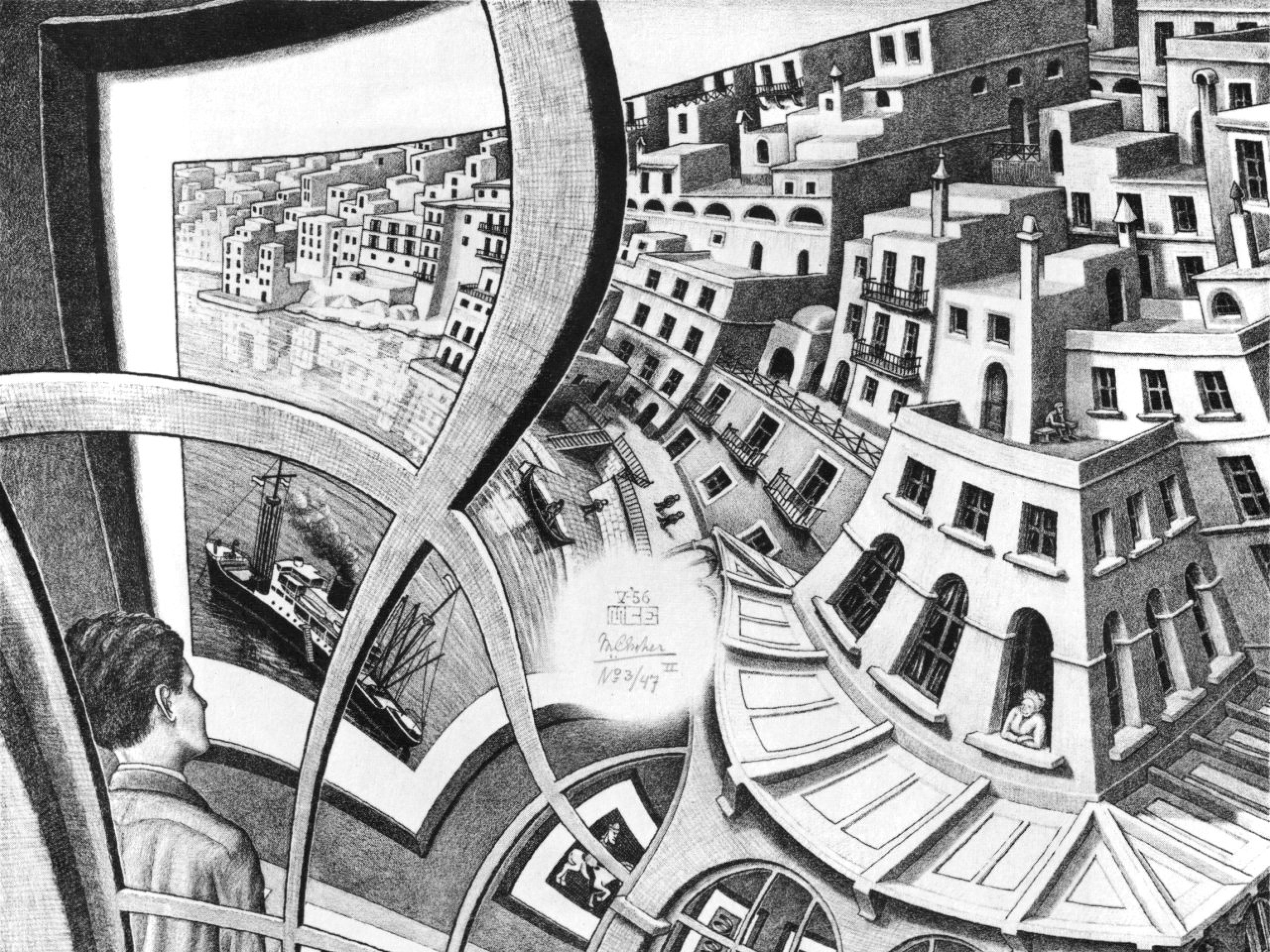 paintings grayscale mc escher monochrome optical illusions 1280×1286  wallpaper Art HD Wallpaper
