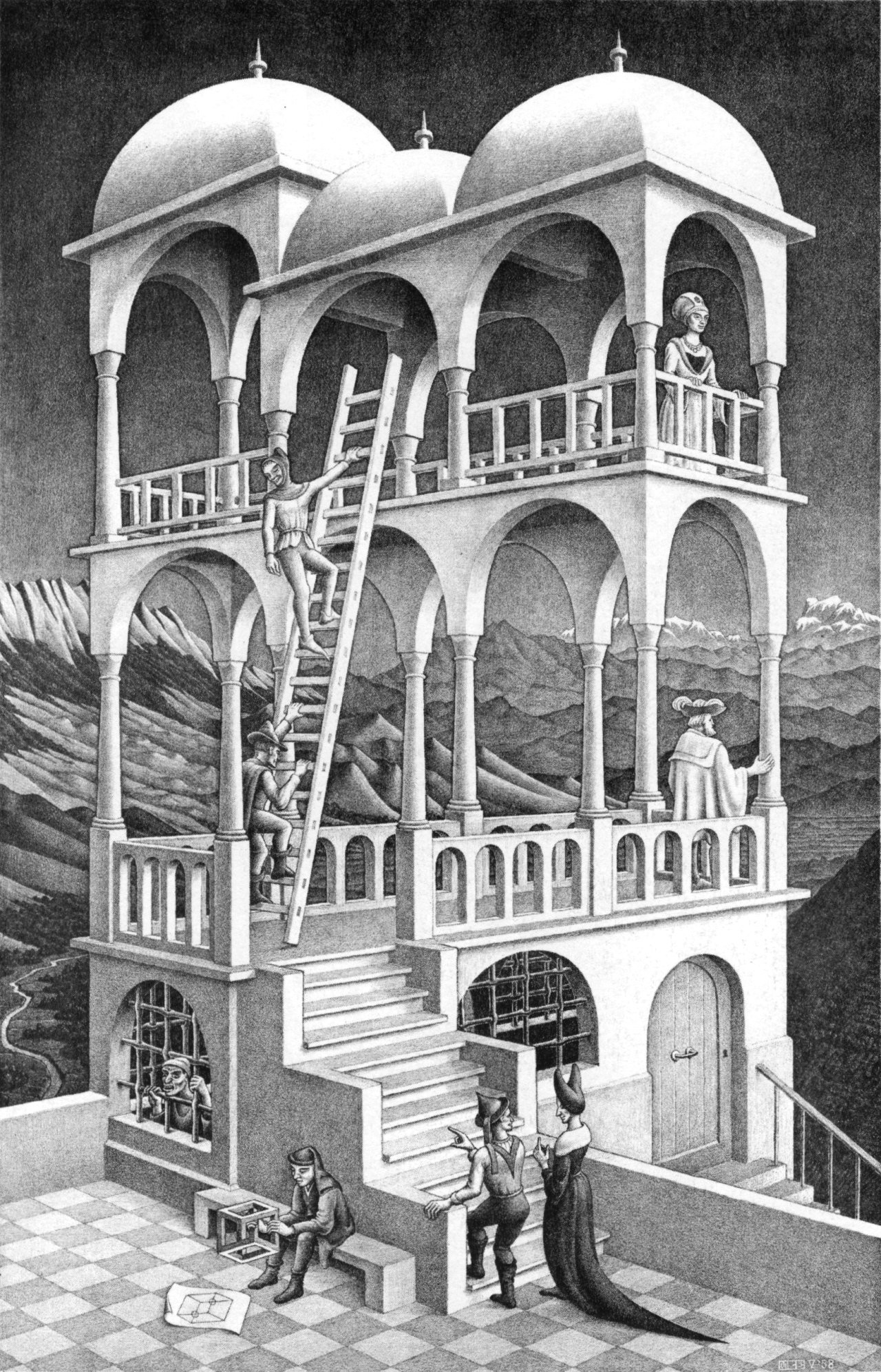General artwork optical illusion M. C. Escher monochrome portrait  display lithograph people building stairs ladders cube