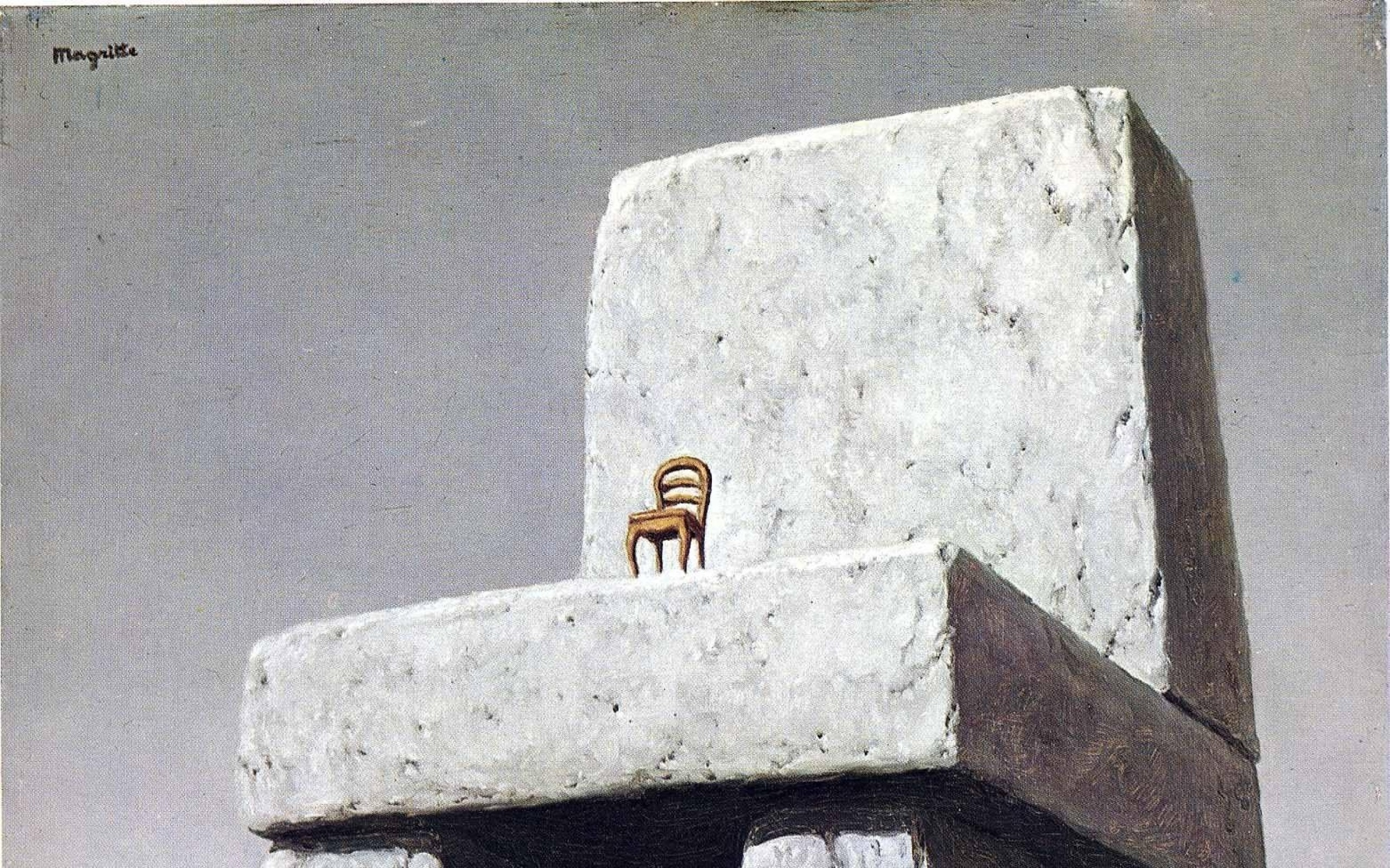 paintings landscapes stones surrealism chairs artwork traditional art rene  magritte belgian 1948 Art HD Wallpaper