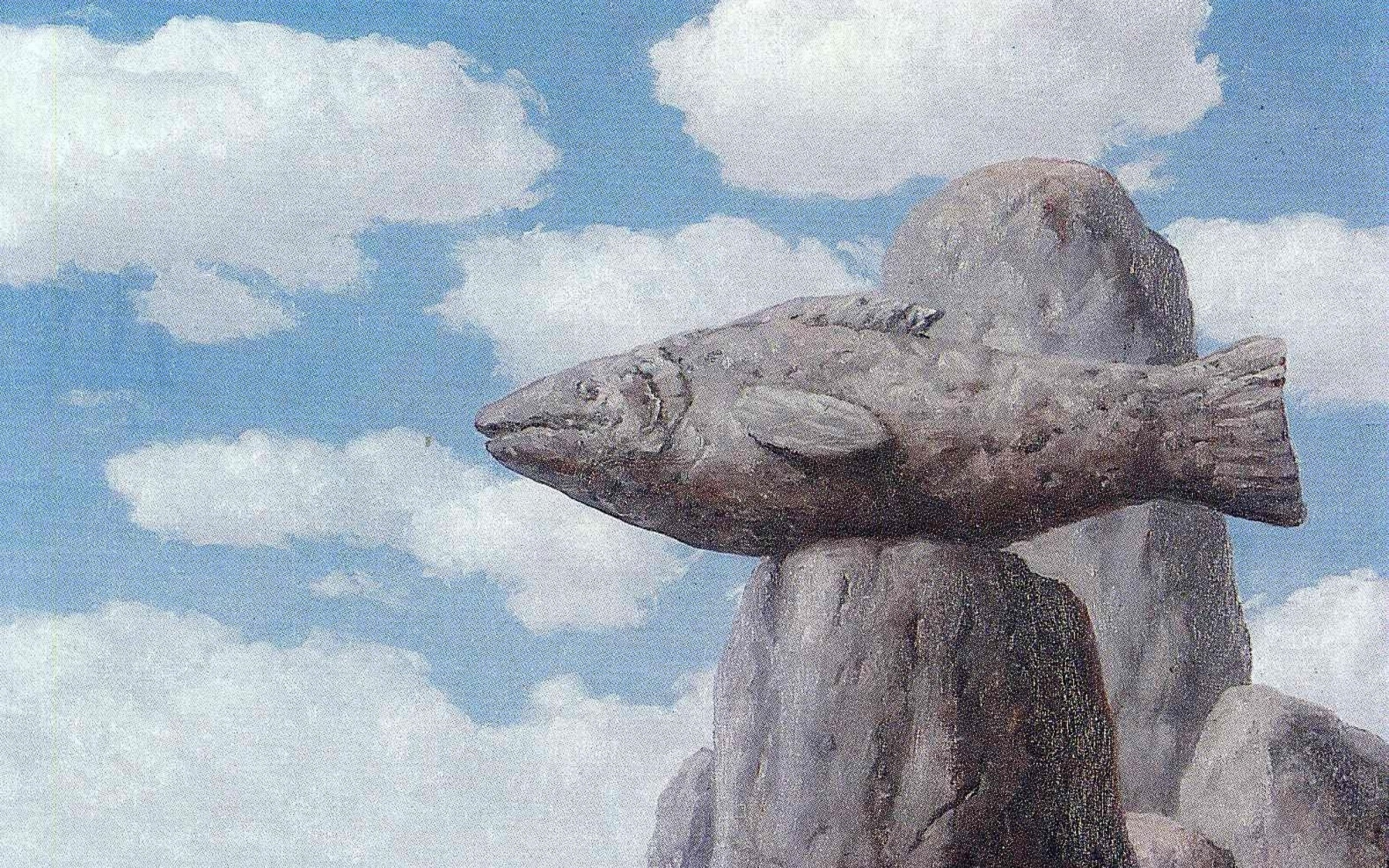 paintings clouds rock fish stones surrealism artwork traditional art rene  magritte belgian 1579×1 Art HD Wallpaper