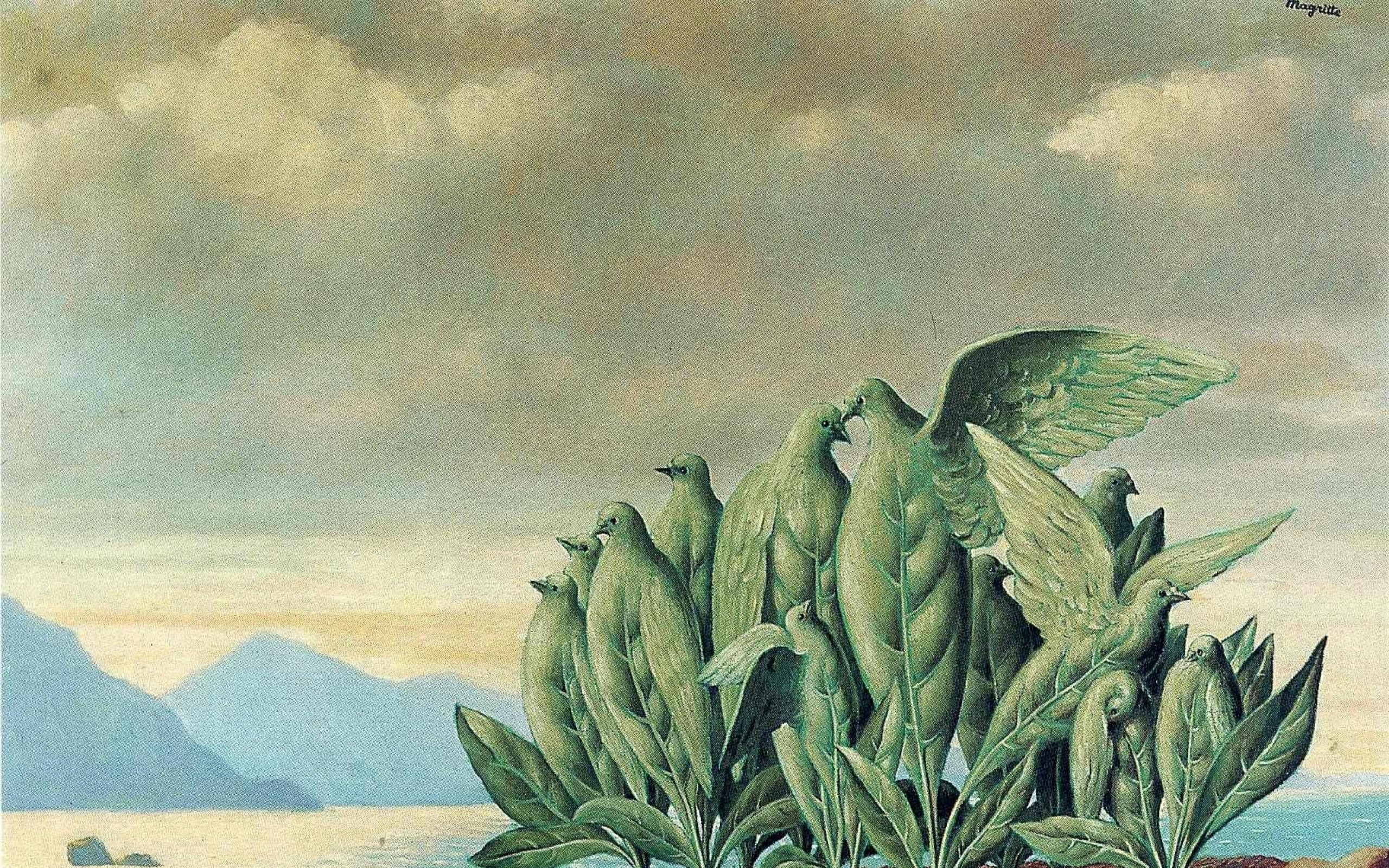 paintings mountains clouds landscapes leaves surrealism artwork traditional  art rene magritte belgia Art HD Wallpaper