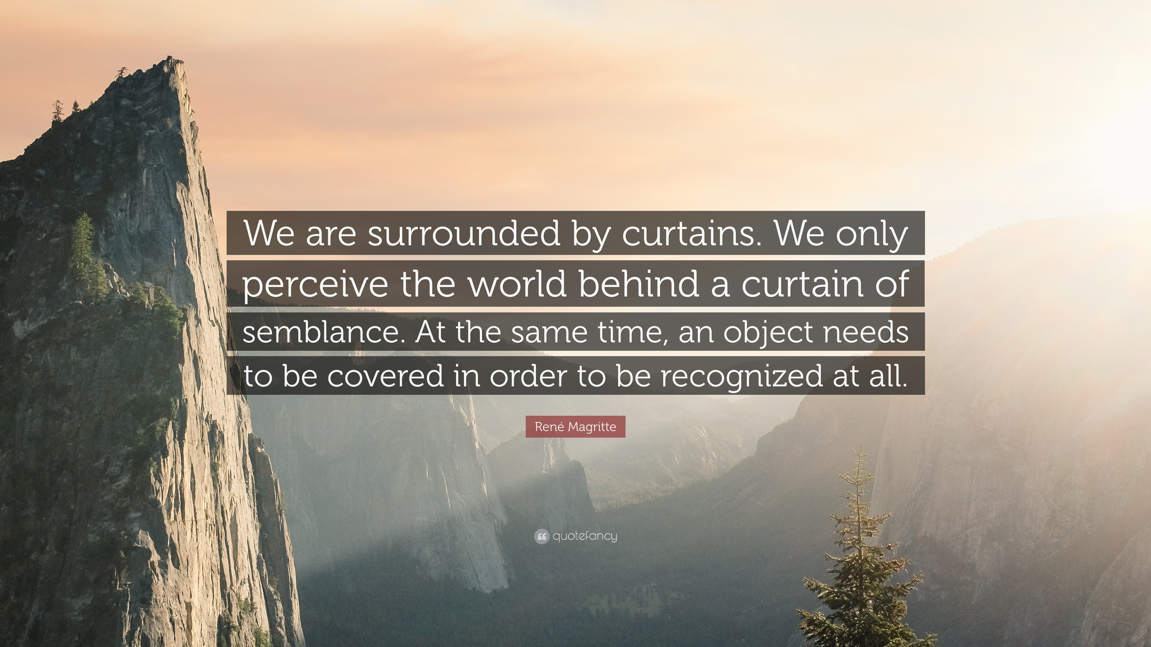 "René Magritte Quote: ""We are surrounded by curtains. We only perceive the  world"