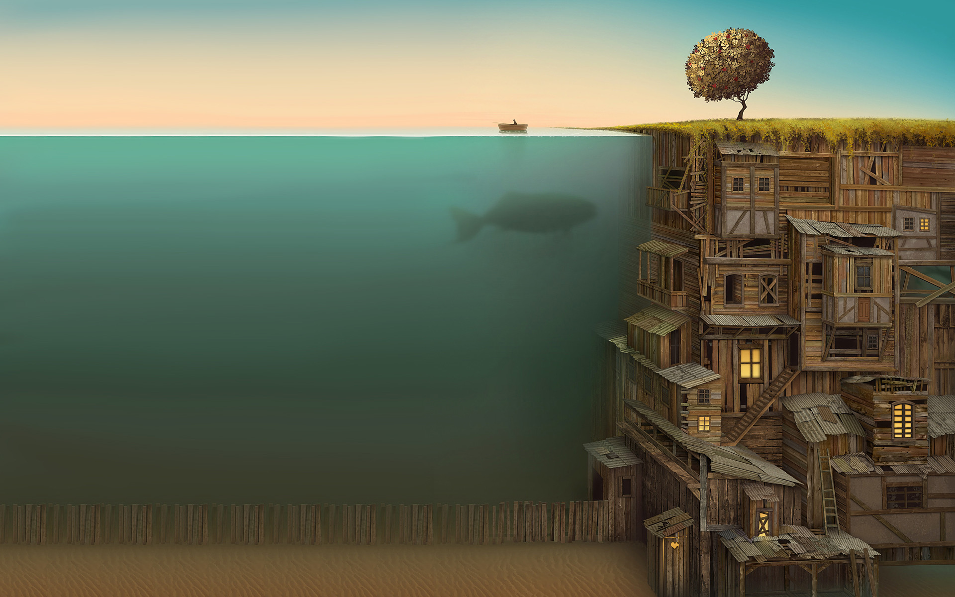 Surrealism | Surrealism Wood Fish Artwork Underwater Wallpaper with  .