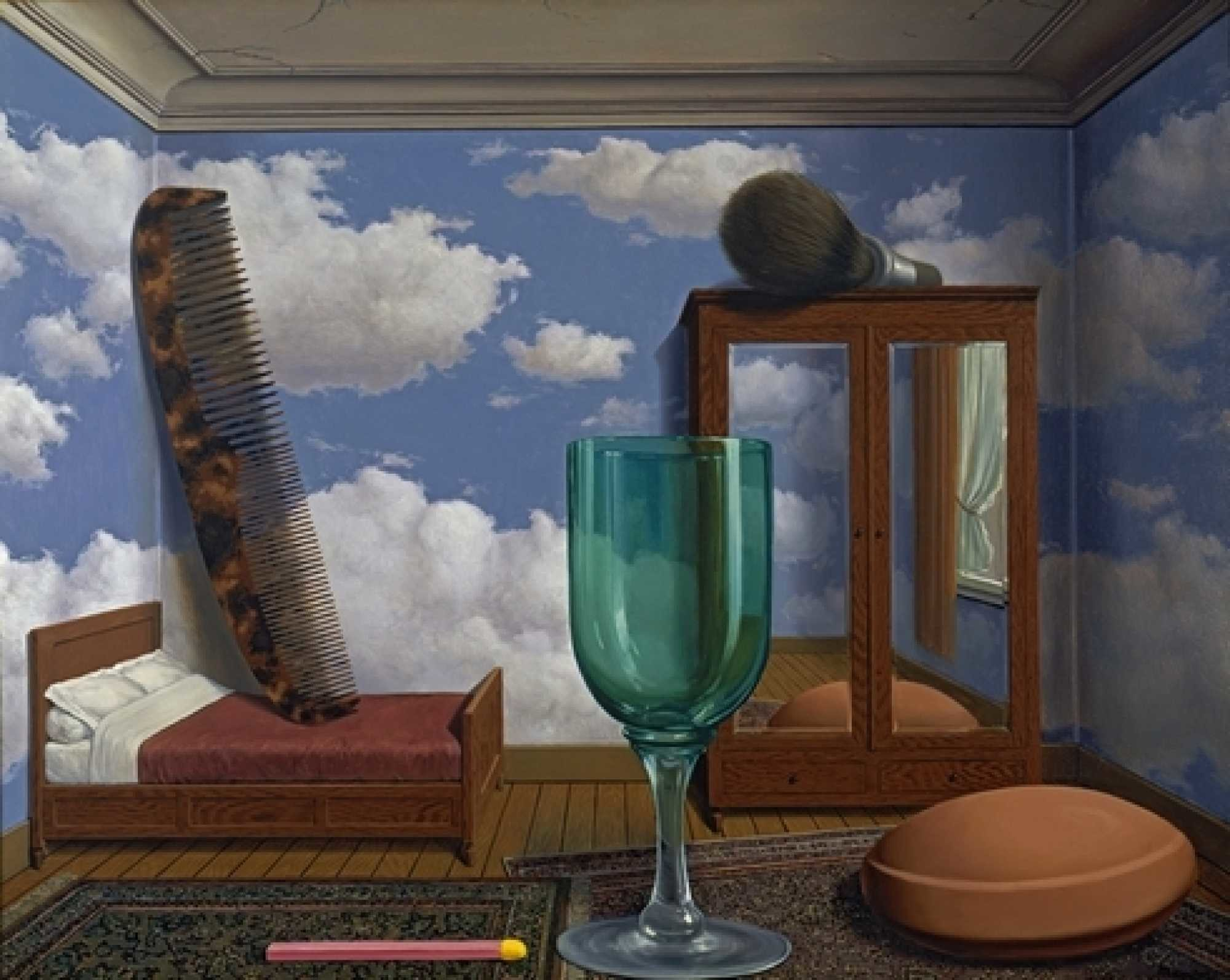 """René Magritte: """"Personal values"""" (1952). Oil on canvas, 77"""