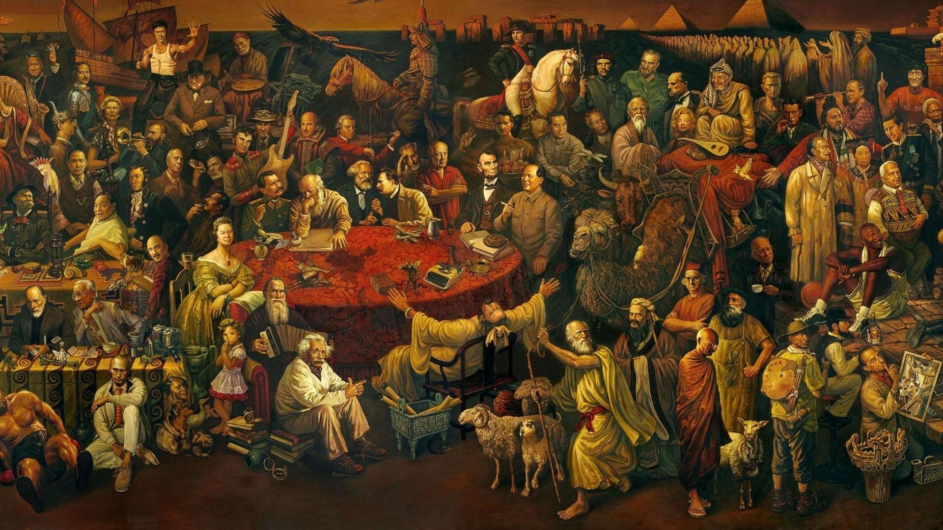 General celebrity Discussing the Divine Comedy with Dante Salvador  Dalí artwork painting Socrates Vladimir Lenin