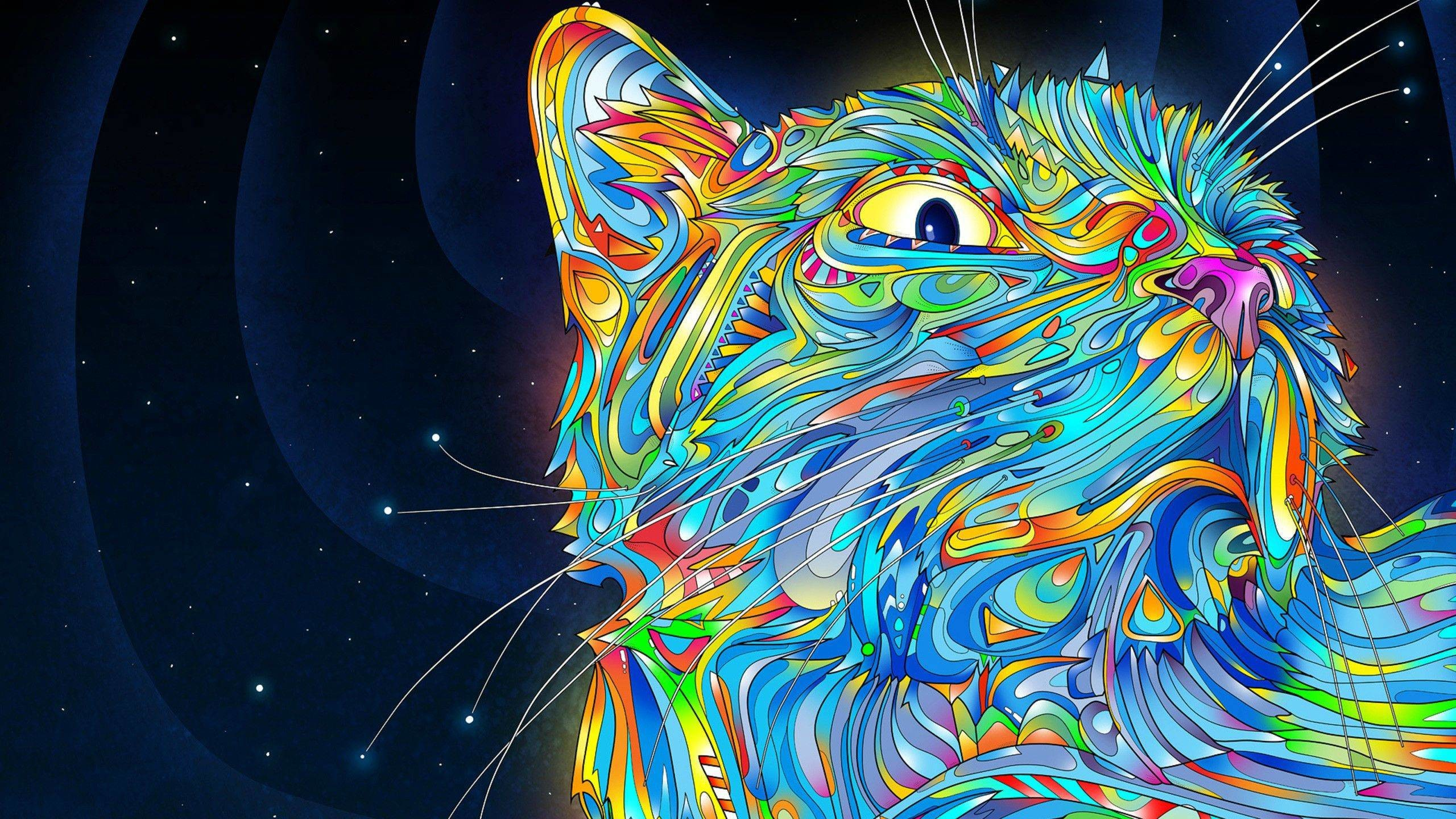 Trippy Cat ~ WQHD Wallpapers