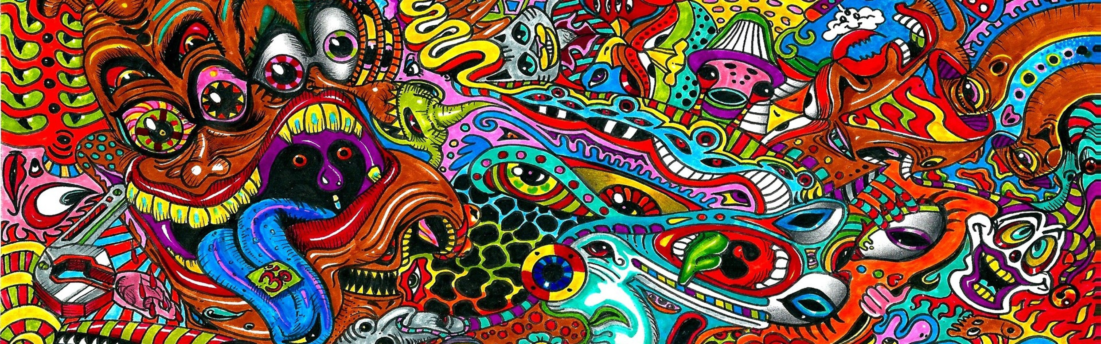 Download Wallpaper Drawing, Surreal, Colorful, Psychedelic .