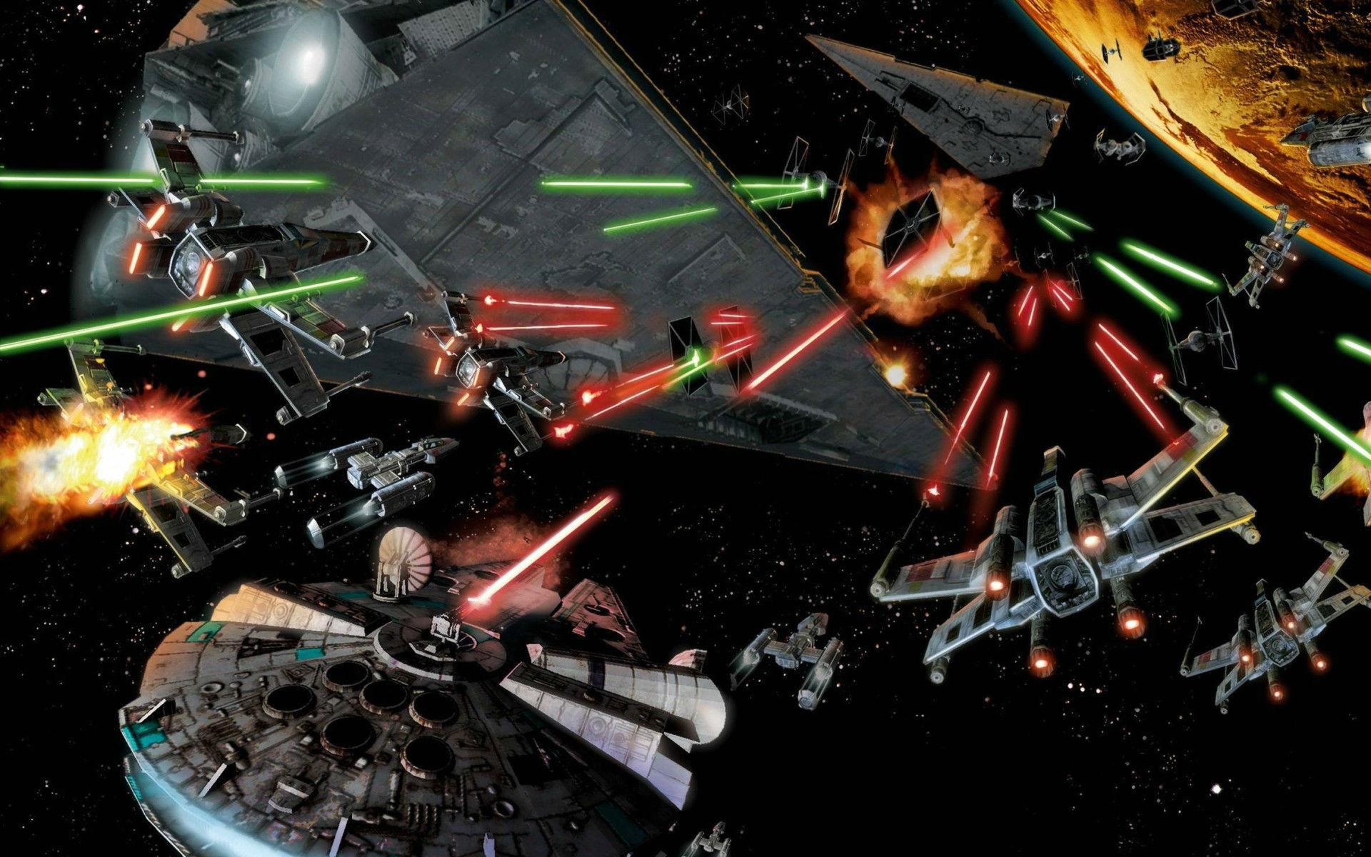 Space Battle Star Wars Millennium Falcon Art wallpaper