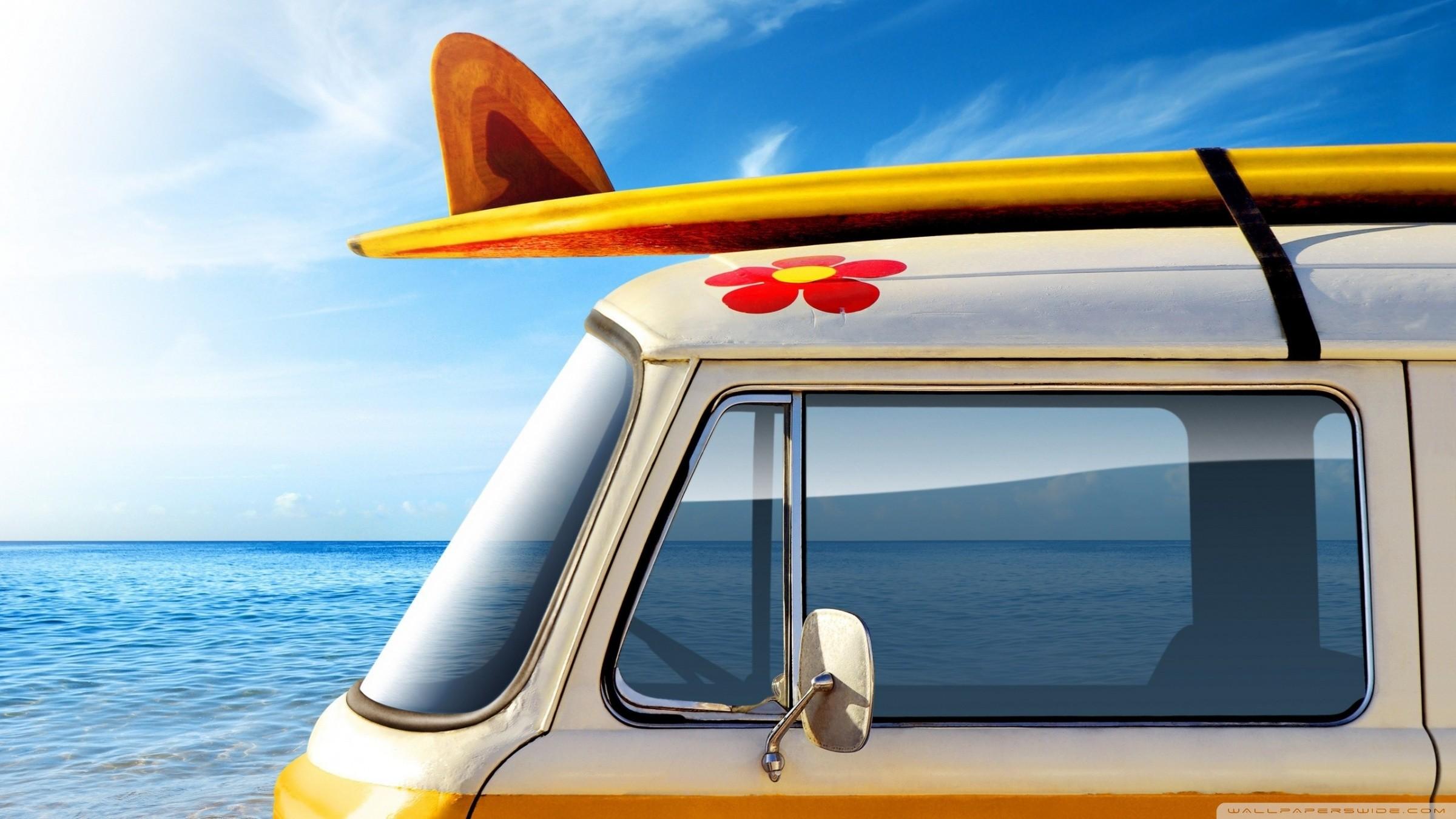 vw hippie volkswagen combi van bus art wallpaper 2400×1350