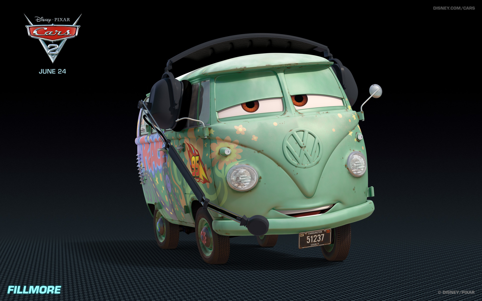 Fillmore the Hippy Car from Disney's Cars 2 HD wallpaper – Click picture  for high resolution HD wallpaper