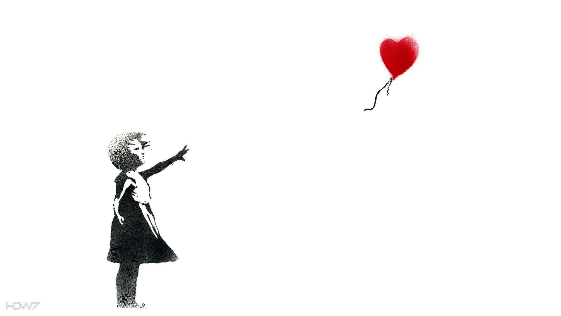 girl with a balloon banksy wallpaper