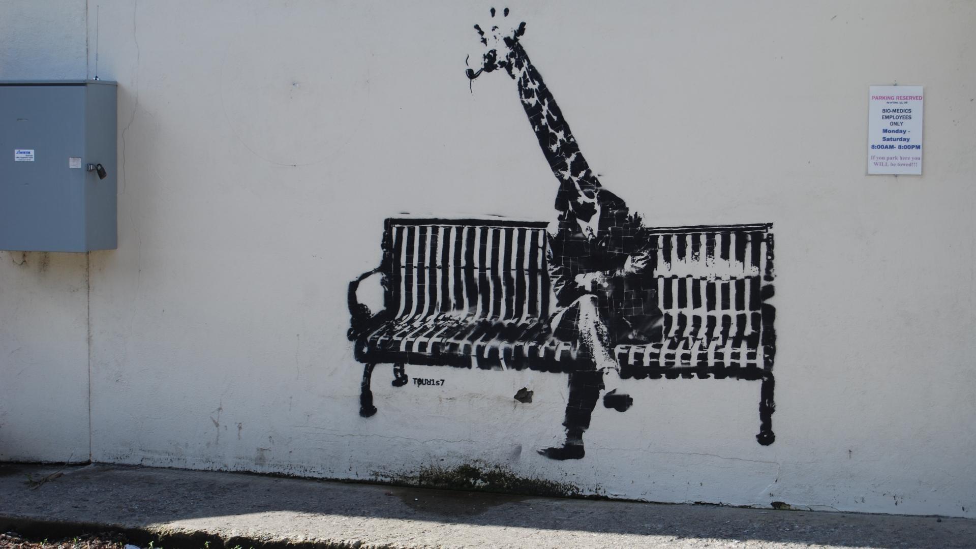 General artwork animals graffiti wall Banksy bench sitting legs  giraffes shadow street art