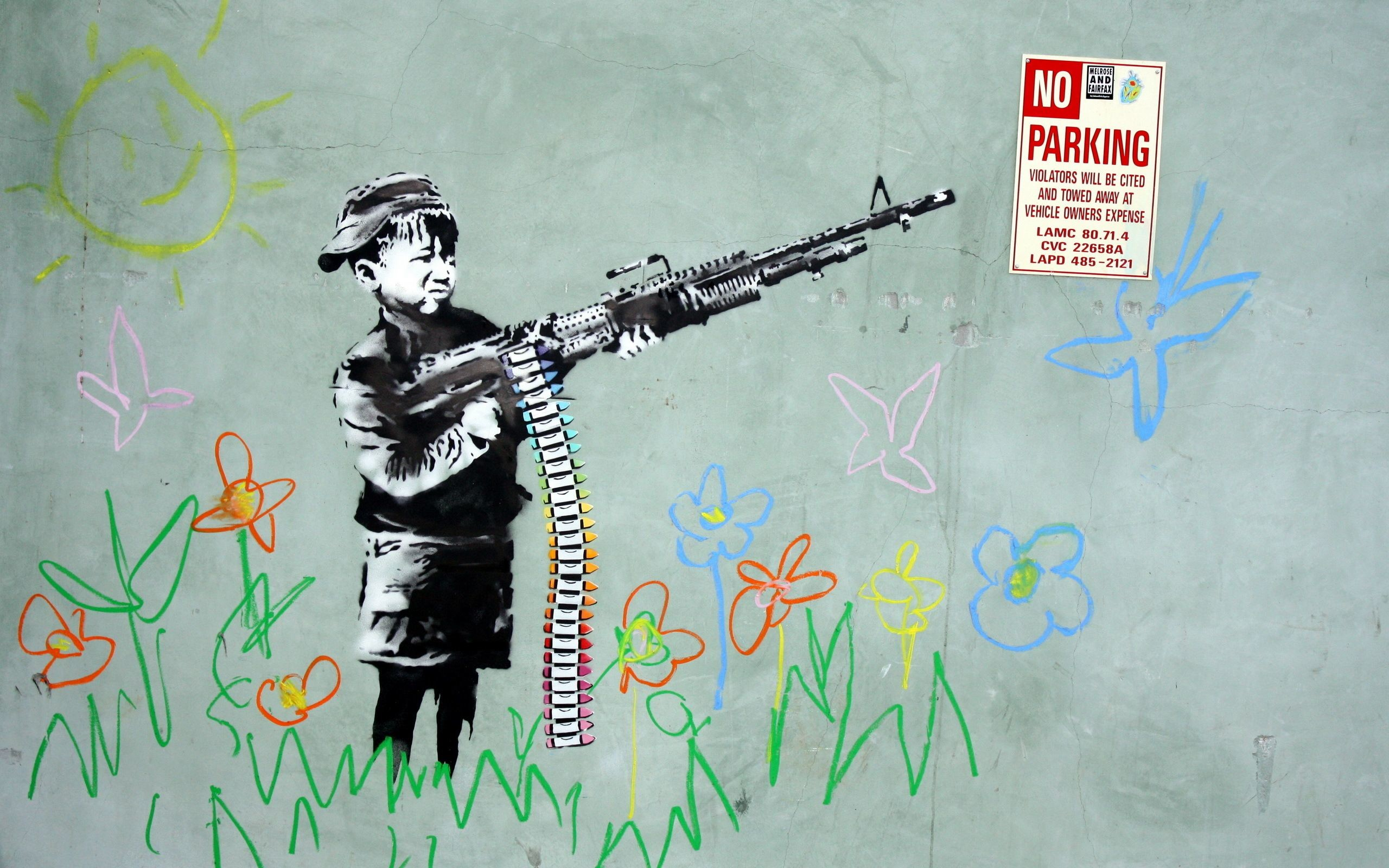 Banksy Gun, art, HD Wallpaper and FREE Stock Photo