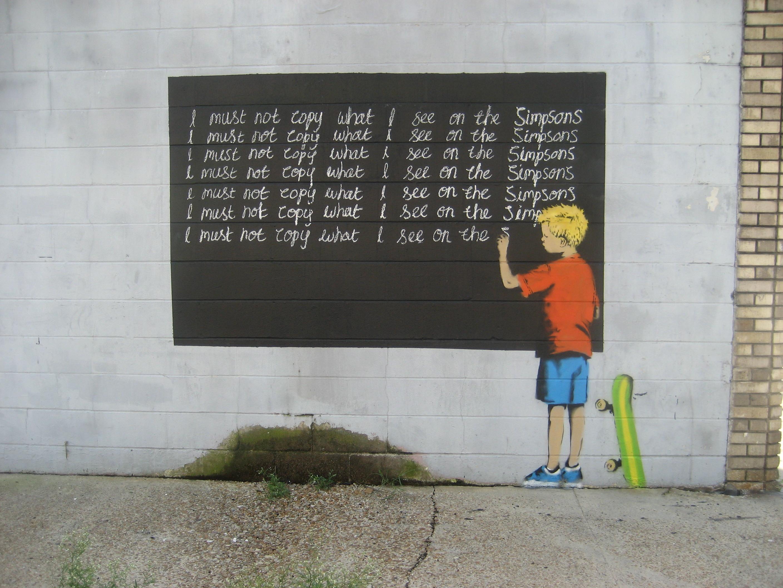 Banksy-(No debo copiar lo que veo en los Simpsons)