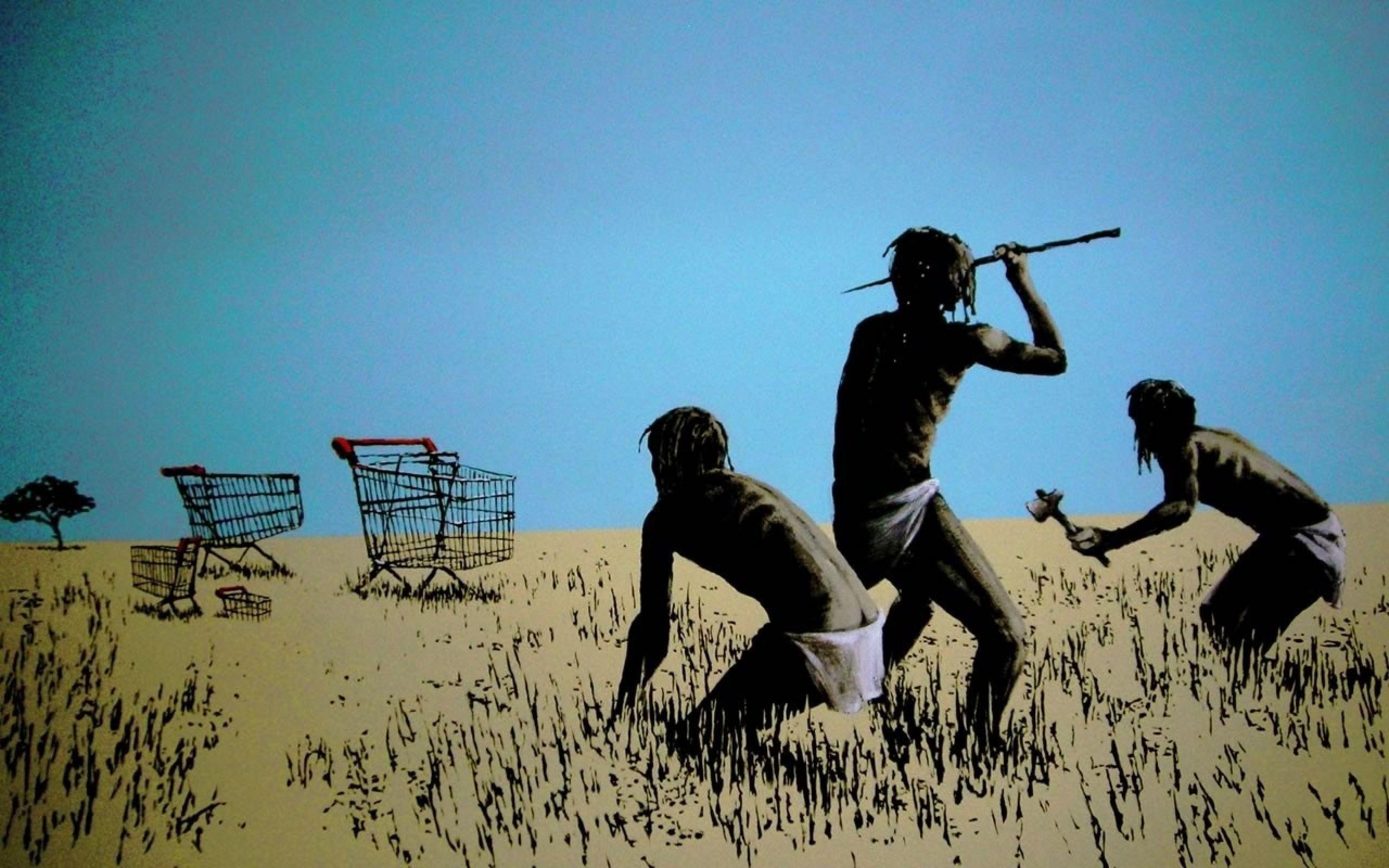 Graffiti, ancient people and Shopping carts, Banksy wallpapers and .