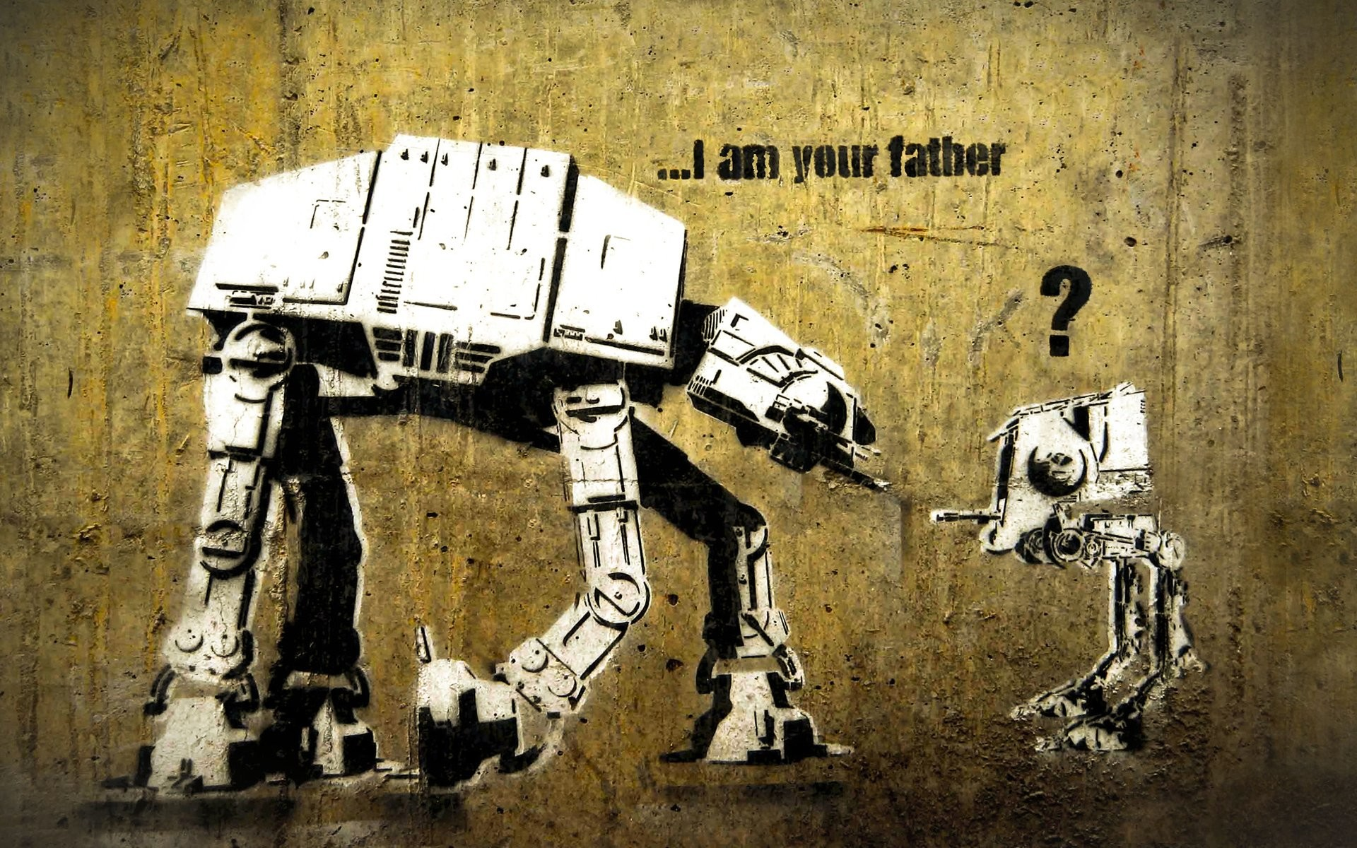 AT-AT AT-ST Banksy Funny I Am Your Father Star Wars Street Art