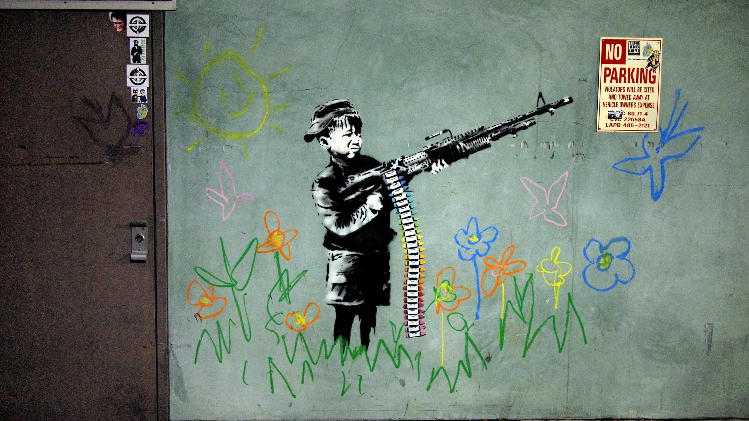 Banksy Crayola Shooter No Parking, Banksy, Street Art, Streetart, Graffit,  Wall