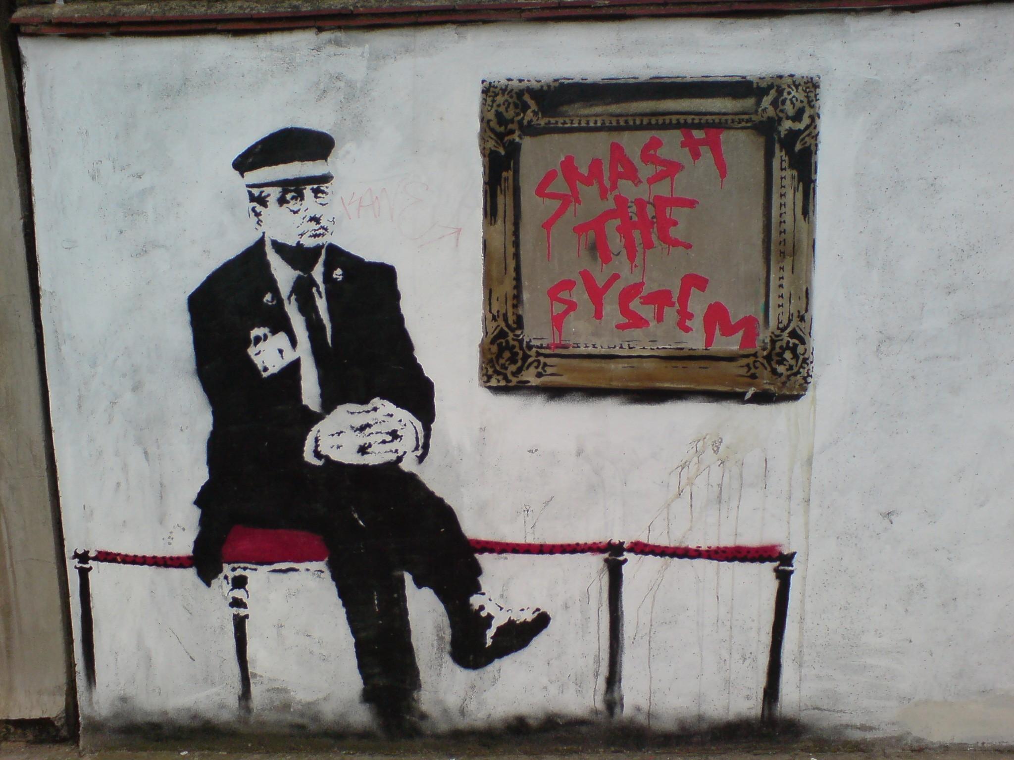 Banksy Smash the System Wallpaper