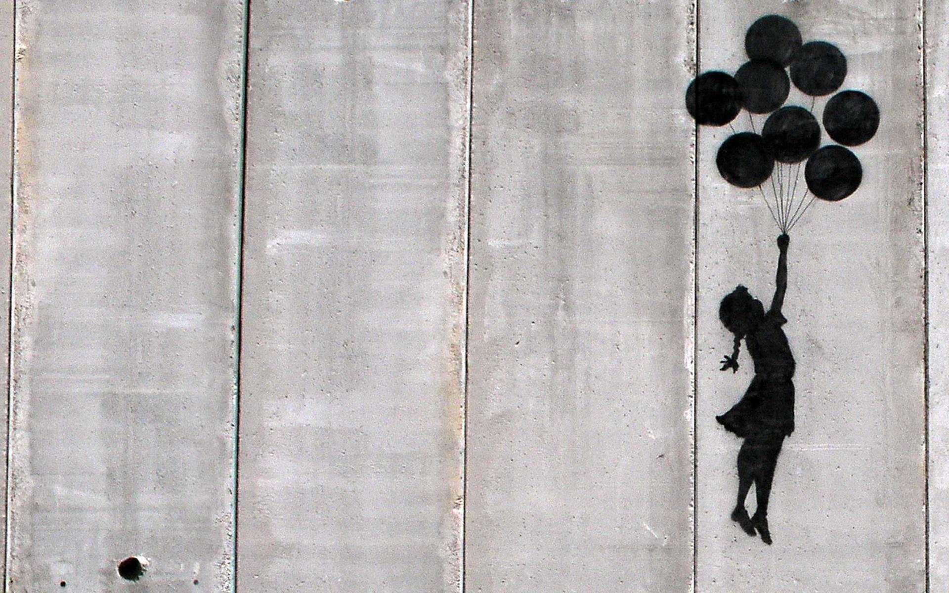 Banksy Girl Balloons Wallpaper