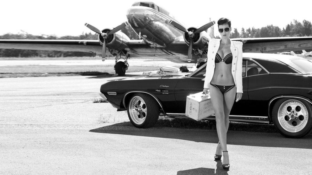 Dodge Challenger women muscle cars model black aircraft wallpaper      29268   WallpaperUP
