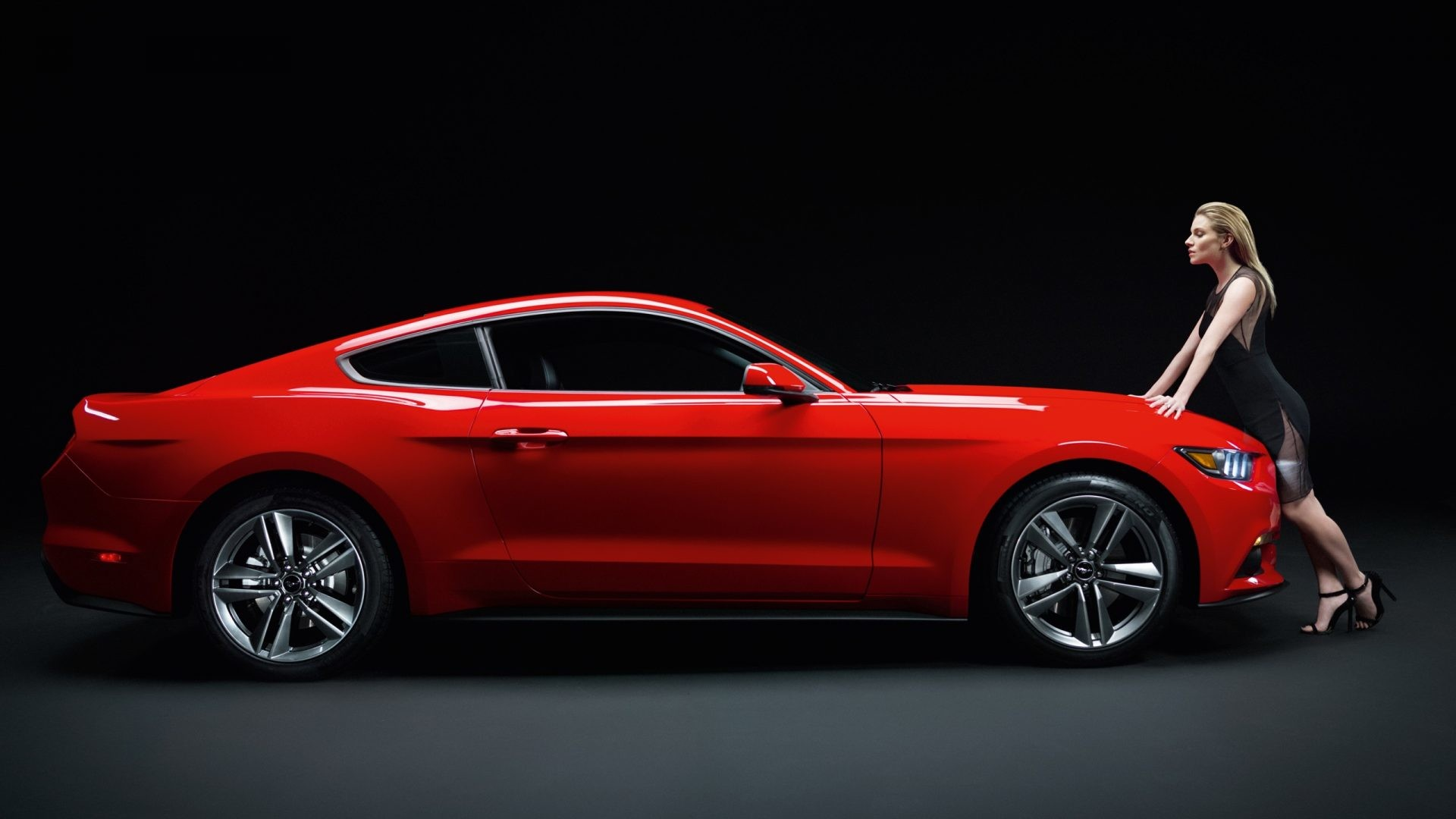 Ford Mustang GT red muscle car with girl 4k Wallpaper
