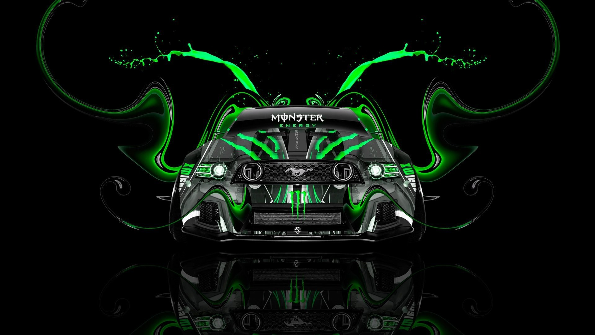 tony kokhan monster energy logo ford mustang gt muscle car front green  aerography tuning acid drink