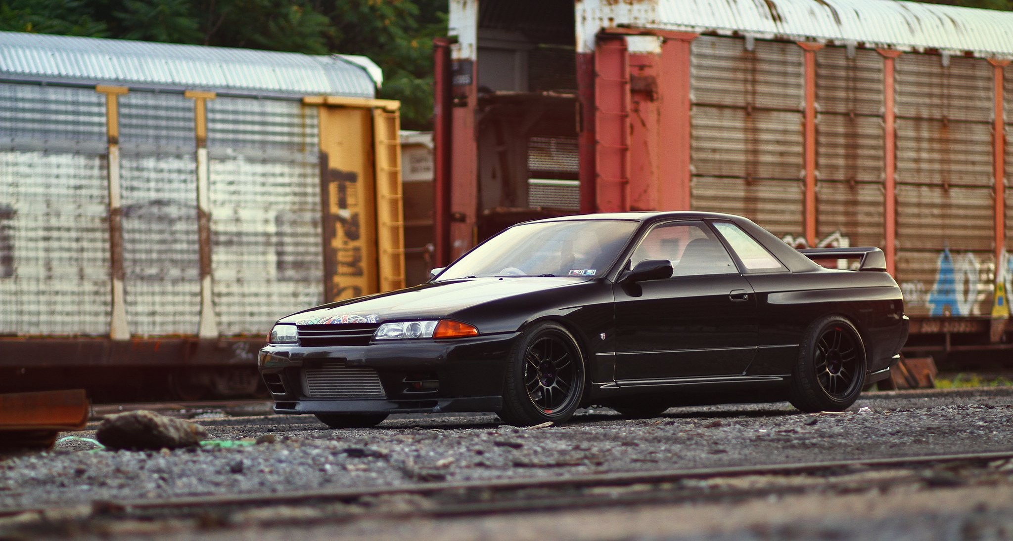 nissan skyline gt-r r32 black tuning nissan skyline black