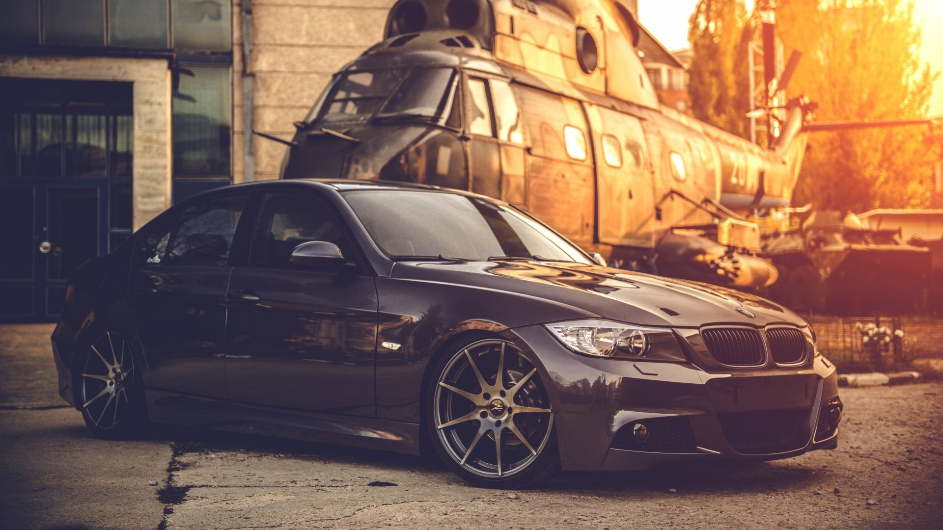 Preview wallpaper bmw, e90, deep concave, black, helicopter 1920×1080
