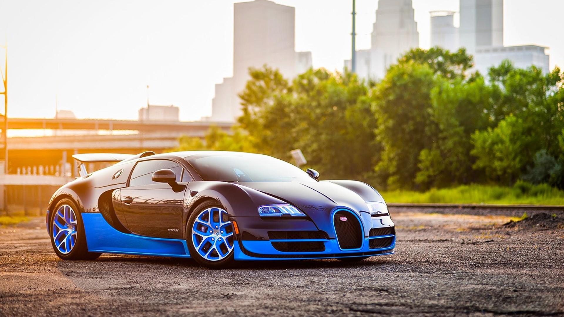 Preview wallpaper bugatti, veyron, grand, blue, side view 1920×1080