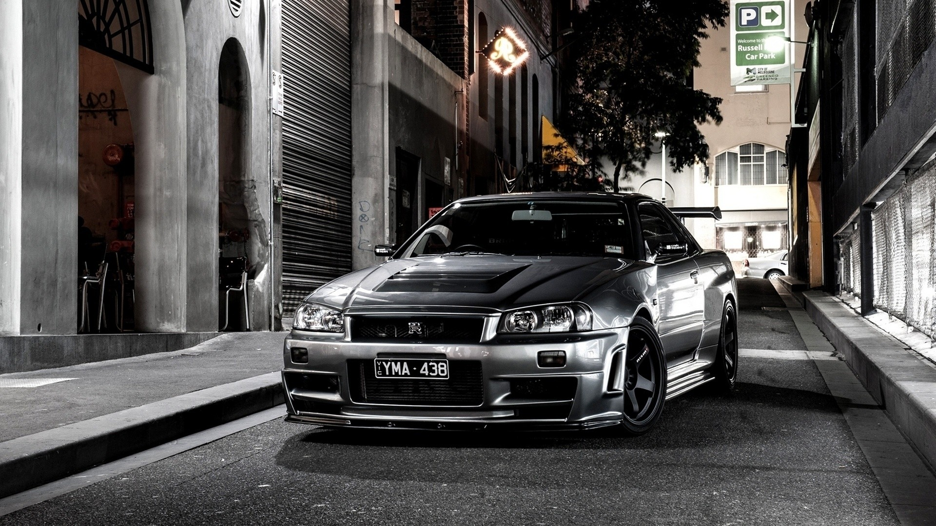 Preview wallpaper nissan, auto, black, street 1920×1080