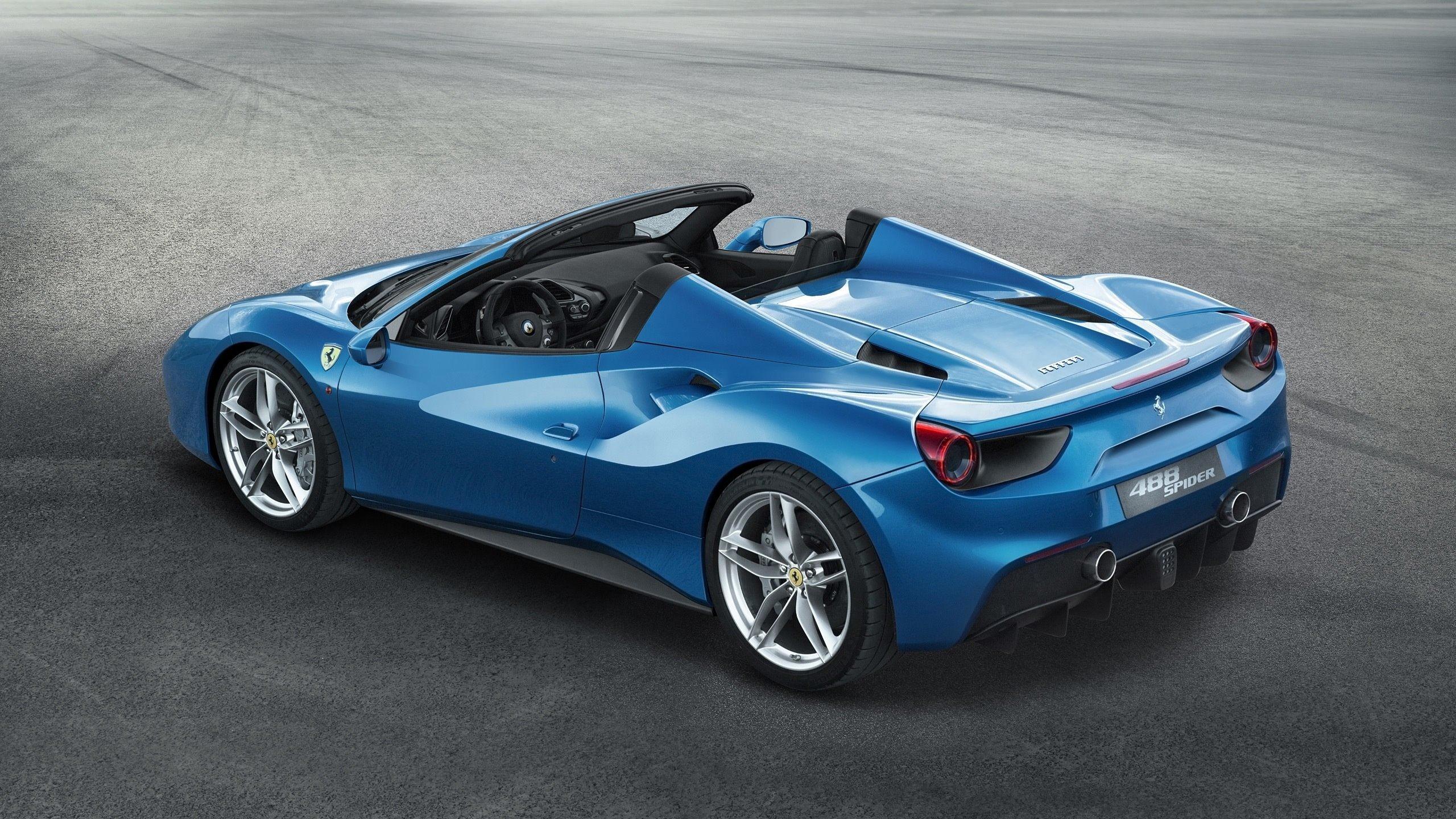 Ferrari 488 Spider Blue Car Wallpaper