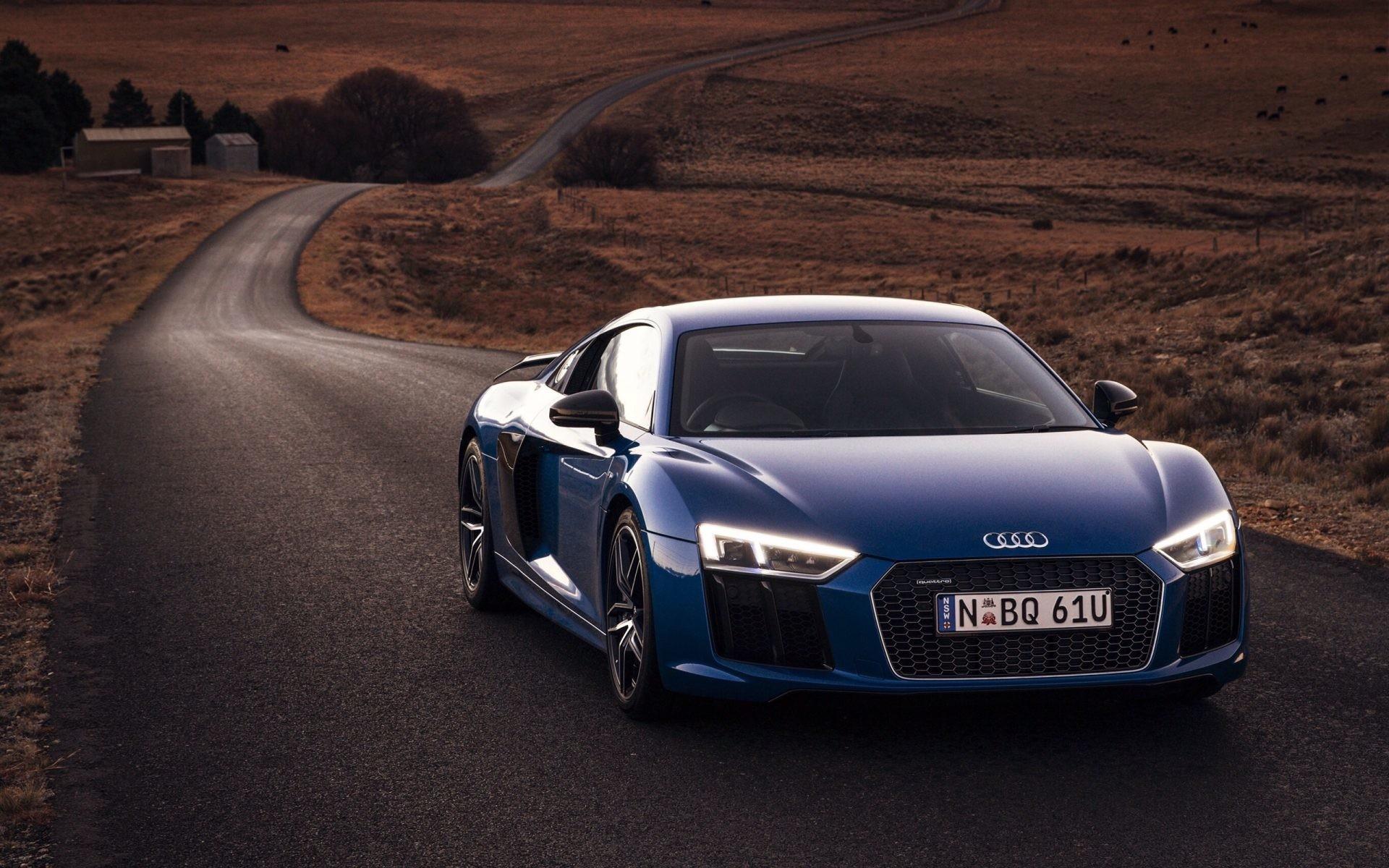 Audi R8 V10 blue car front view lights 4k UHD wallpaper
