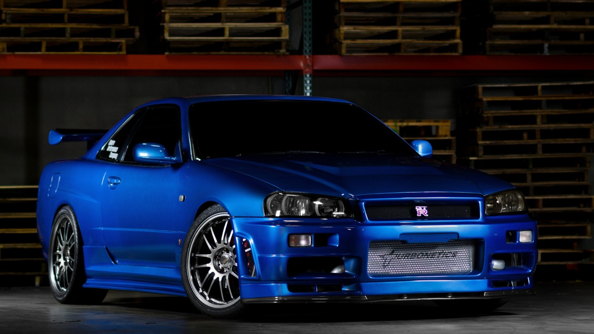Preview wallpaper nissan skyline, gtr, r34, blue, front view 2048×1152