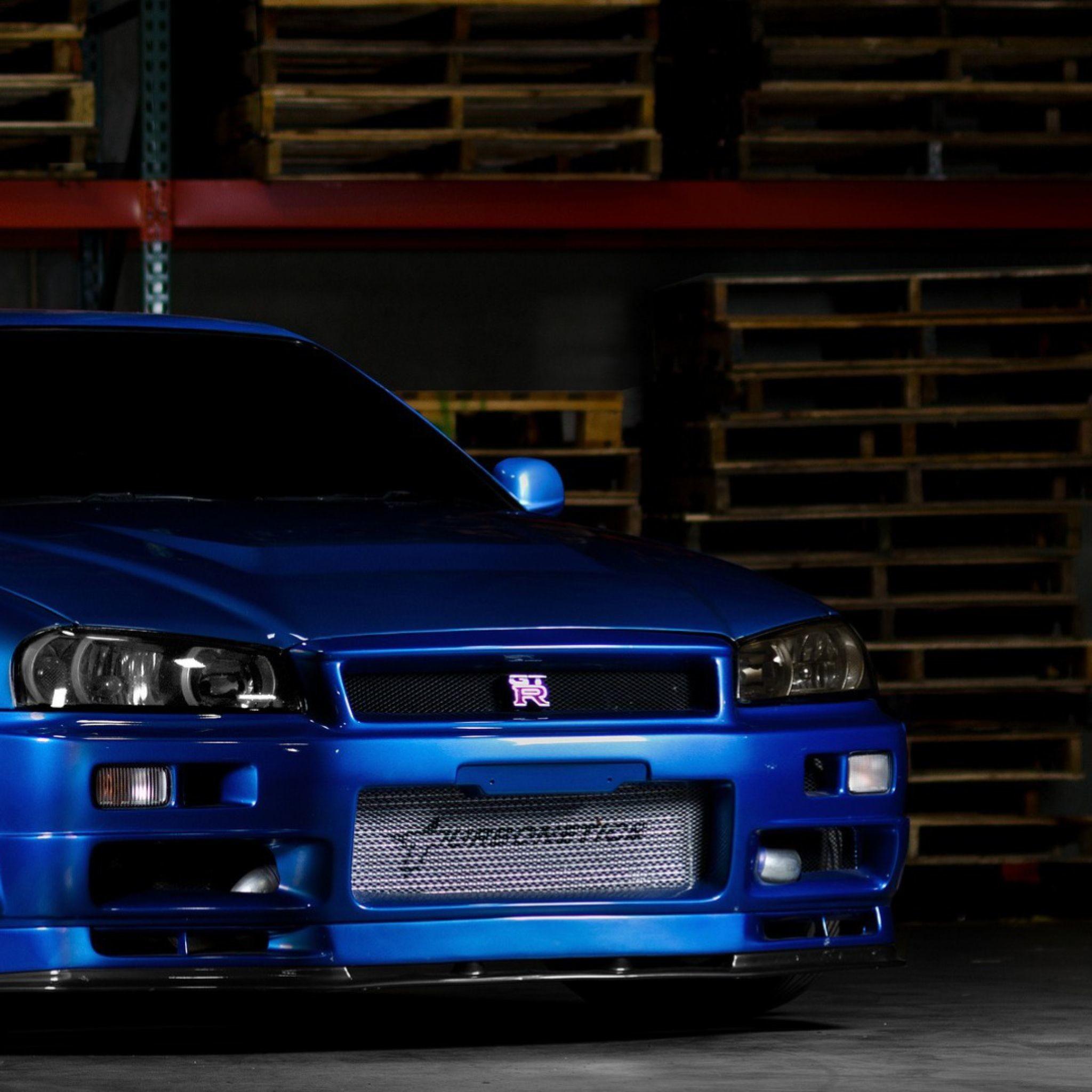Download Wallpaper Nissan skyline, Gtr, R34, Blue, Front .