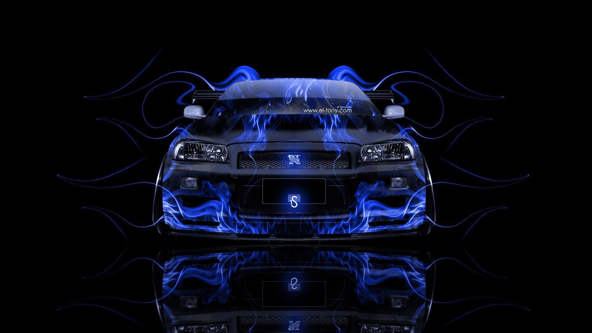 Nissan Skyline GTR R34 Front Fire Abstract Car 2014 Â« el Tony