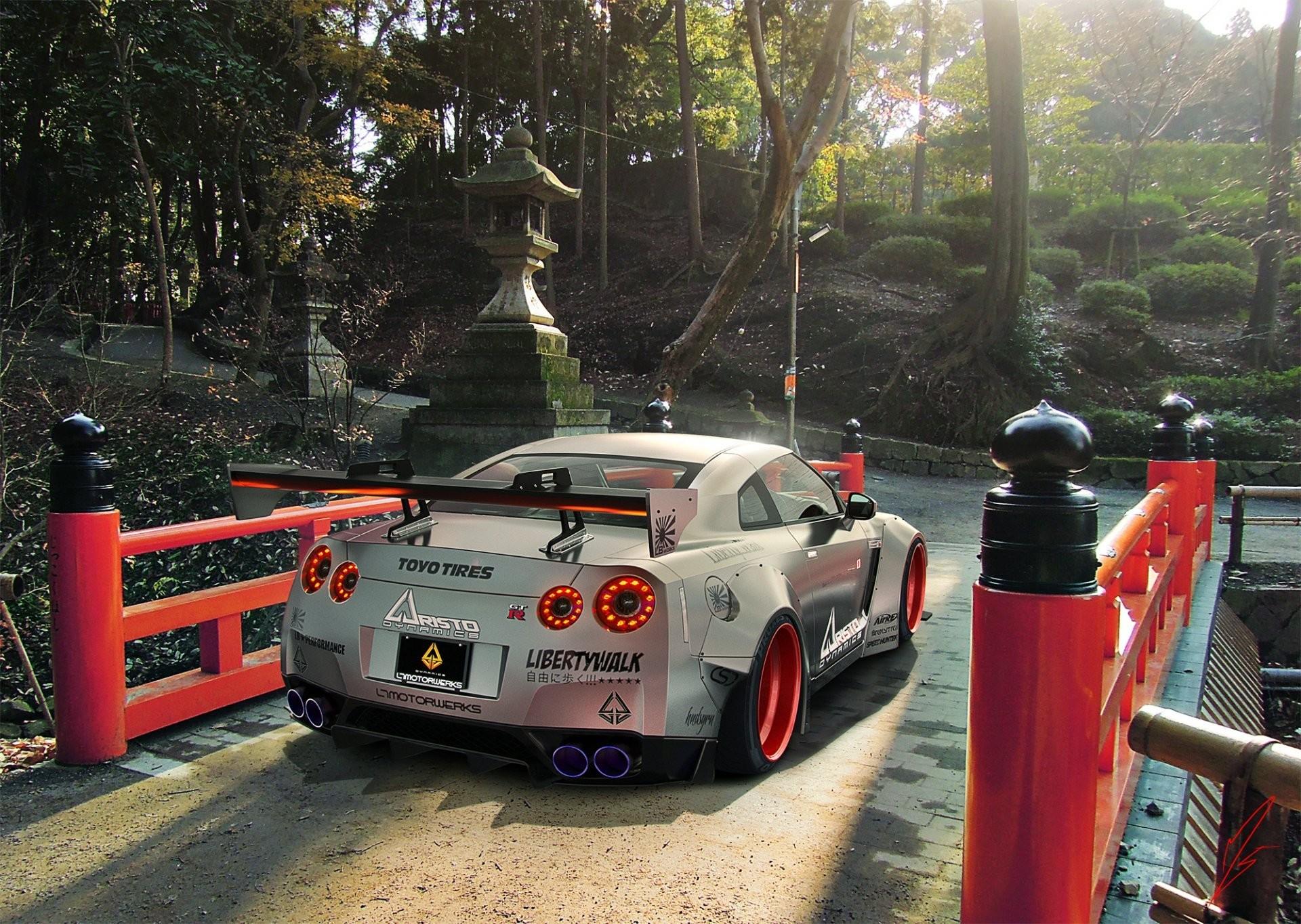 nissan gtr r35 liberty walk silver rear japan sport car
