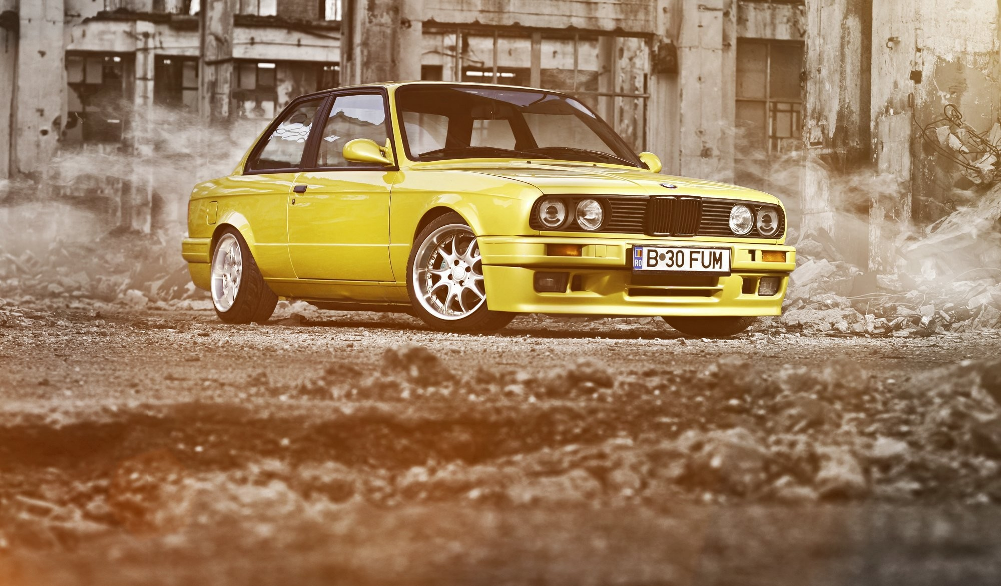 bmw 3 series coupe e30 yellow bmw ruins