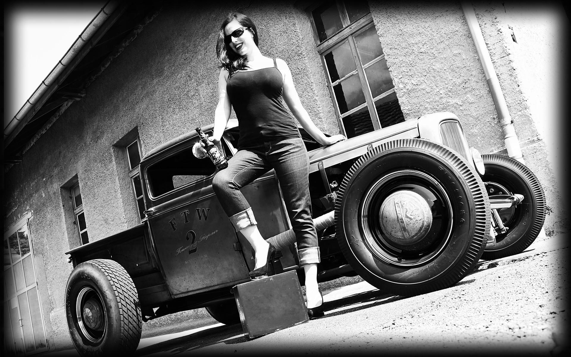 vehicles cars auto hot rod rat classic retro old wheels black white  architecture buildings brick women
