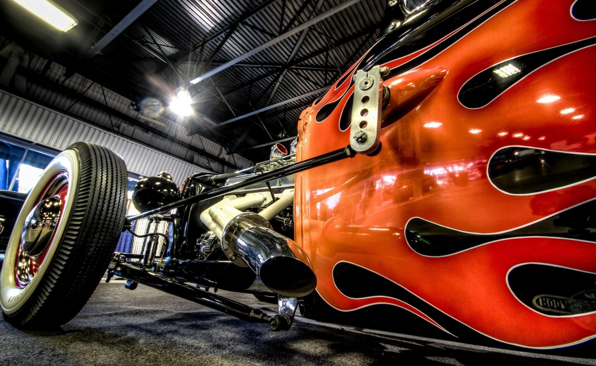 hot rod rat car classic engine machine turbine fire flame