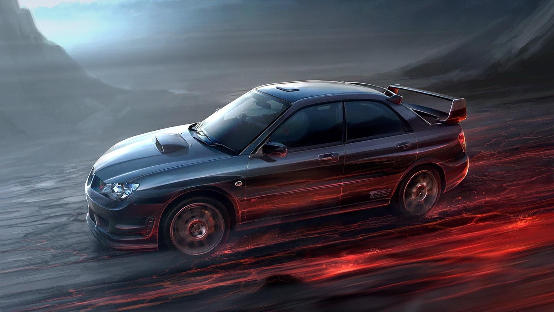 Artwork Cars Digital Art Flame Gary Tonge Subaru Impreza WRX STI