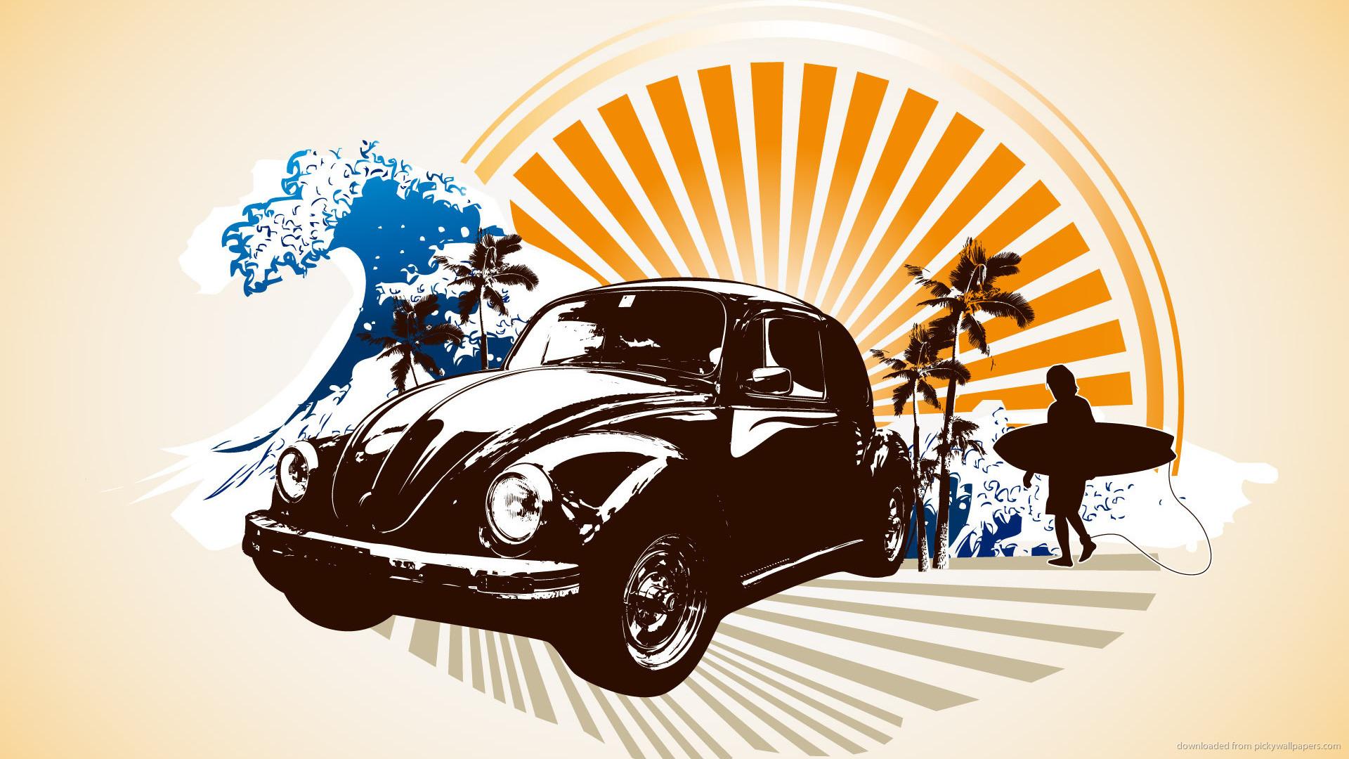 Volkswagen Beetle surfing art picture