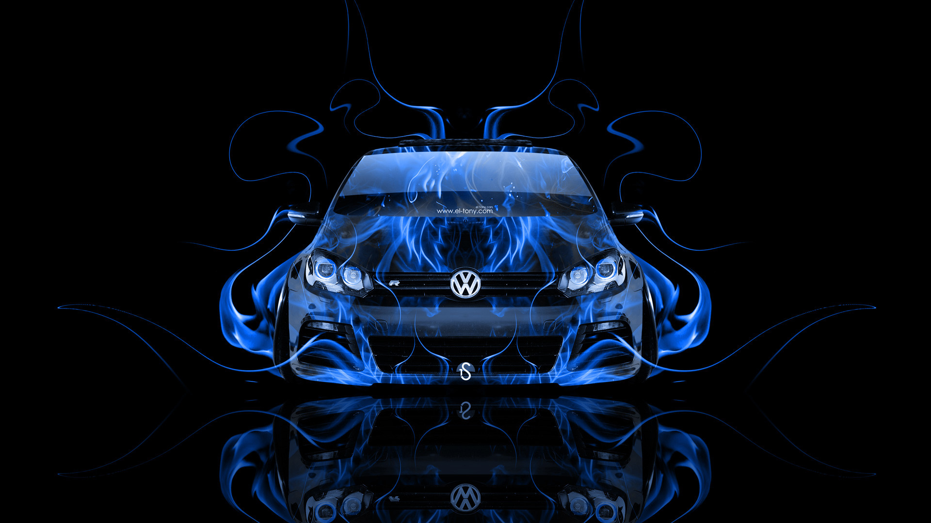 Volkswagen-Golf-R-Front-Blue-Fire-Abstract-Car-