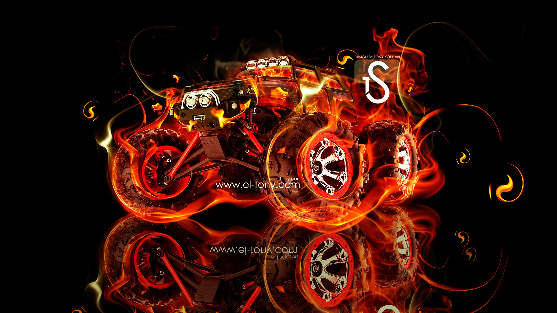 Crazy Flames Monster Truck Rally HD Wallpapers   Pickup Truck